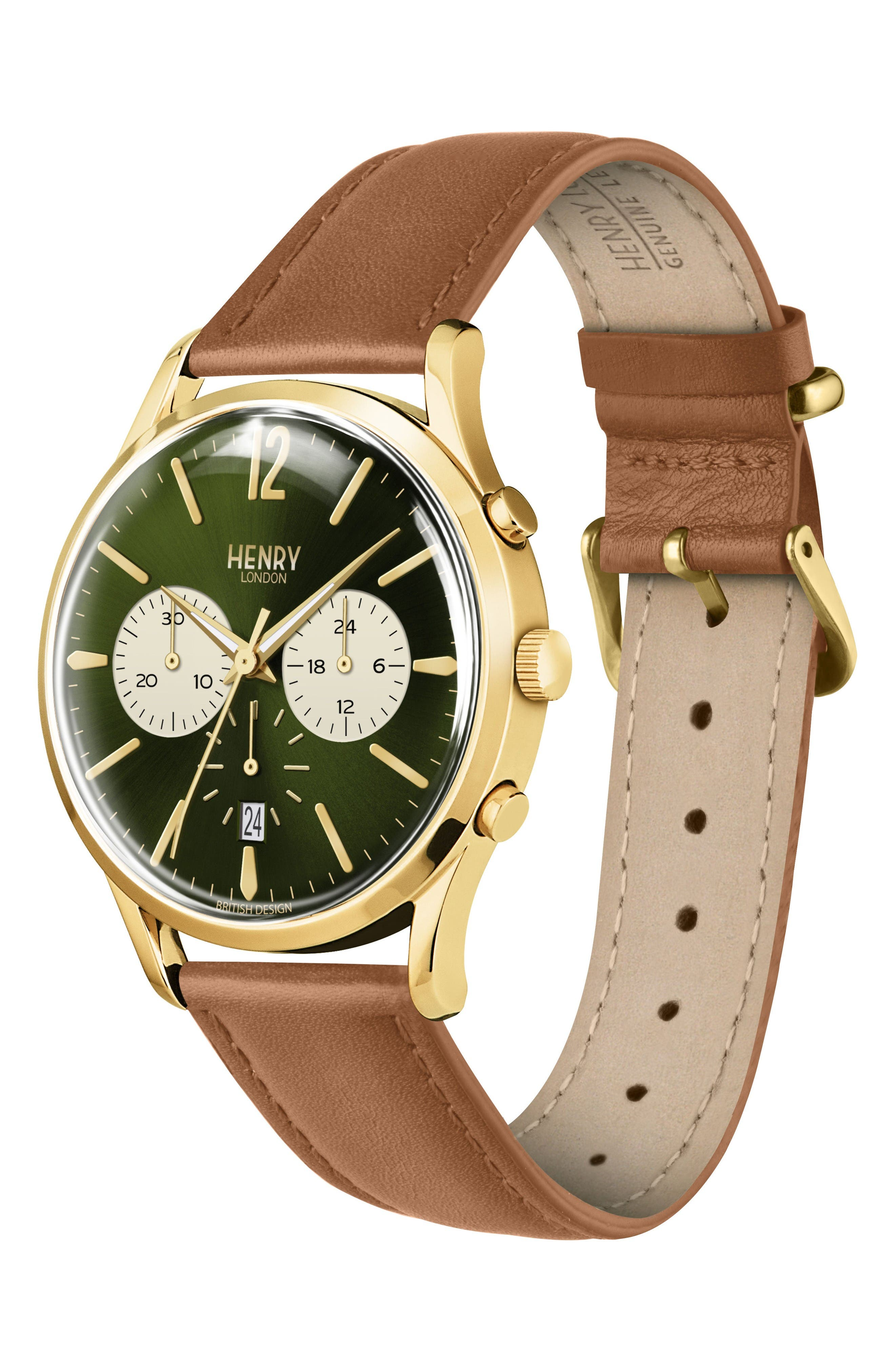 Chiswick Chronograph Leather Strap Watch, 41mm,                             Alternate thumbnail 2, color,                             Brown/ Green/ Gold