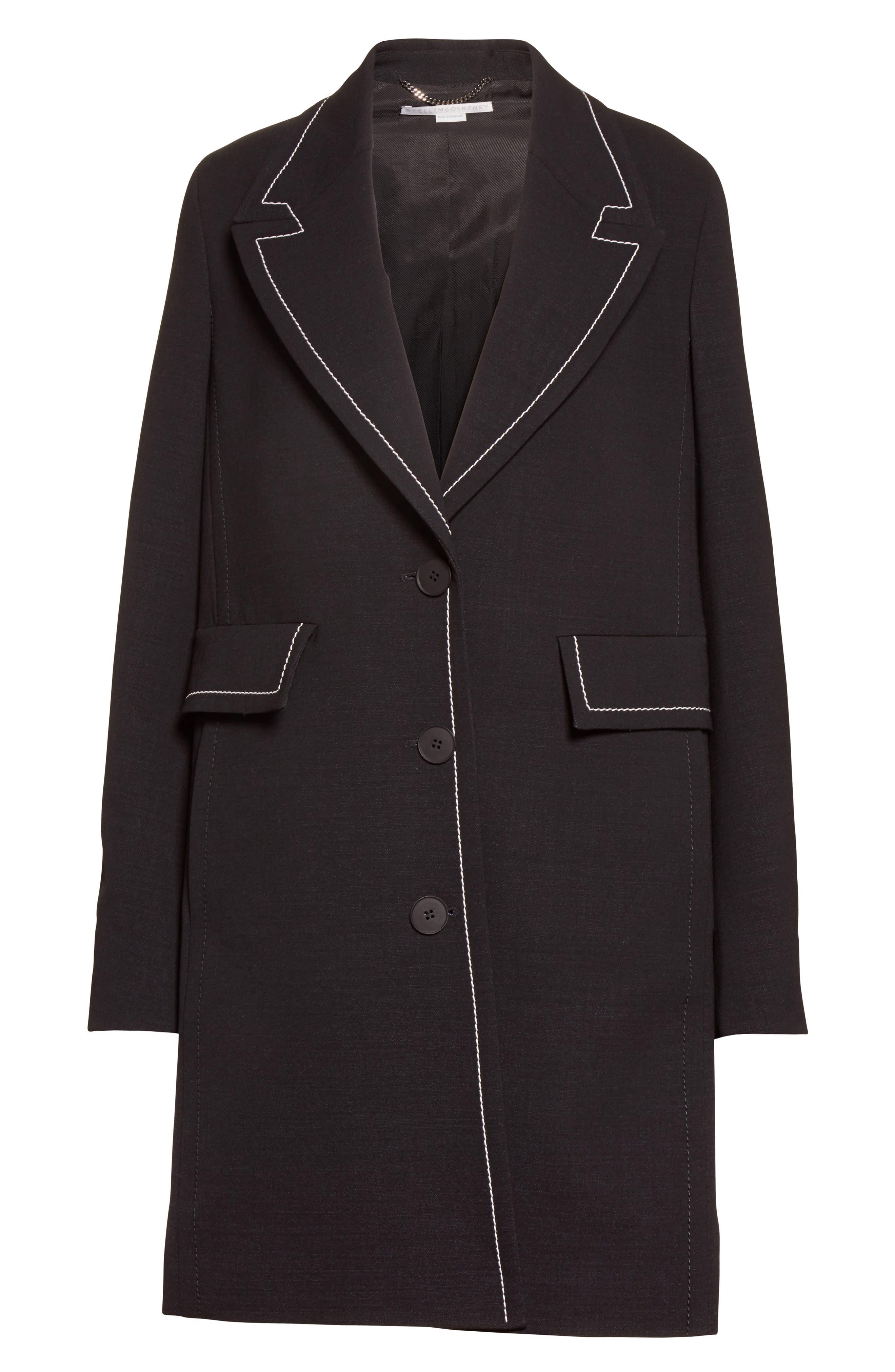 Marcelline Topstitch Double Face Wool Coat,                             Alternate thumbnail 4, color,                             Black/ Mistletoe