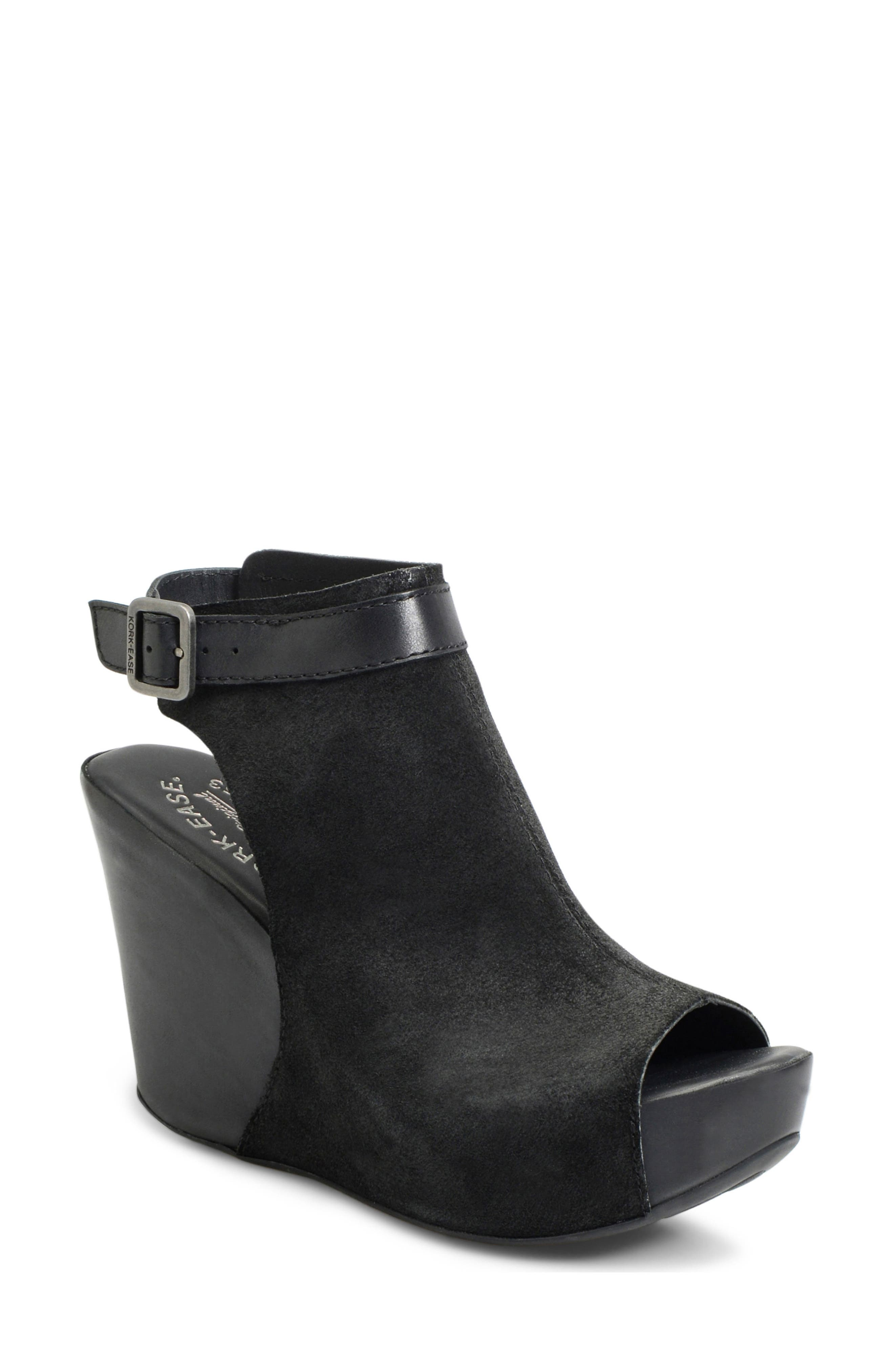 'Berit' Wedge Sandal,                             Main thumbnail 1, color,                             Black Suede