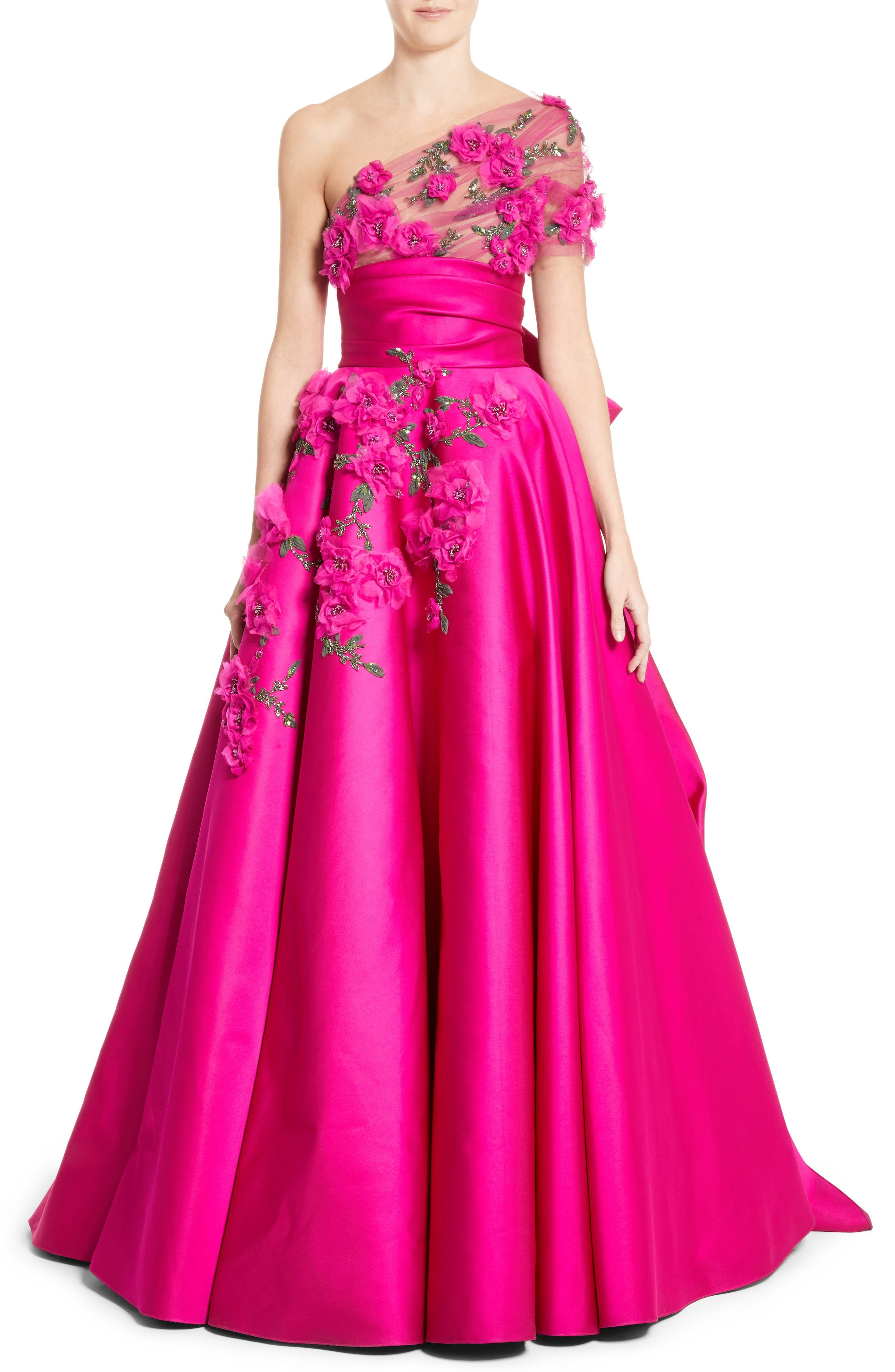 MARCHESA Embellished Tulle Wrap Ballgown