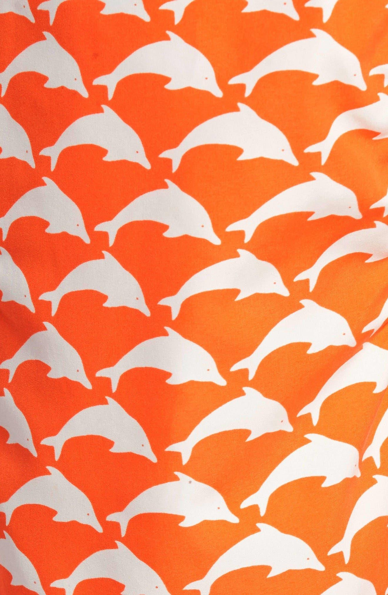 Dolphin Print Swim Trunks,                             Alternate thumbnail 5, color,                             Orange White