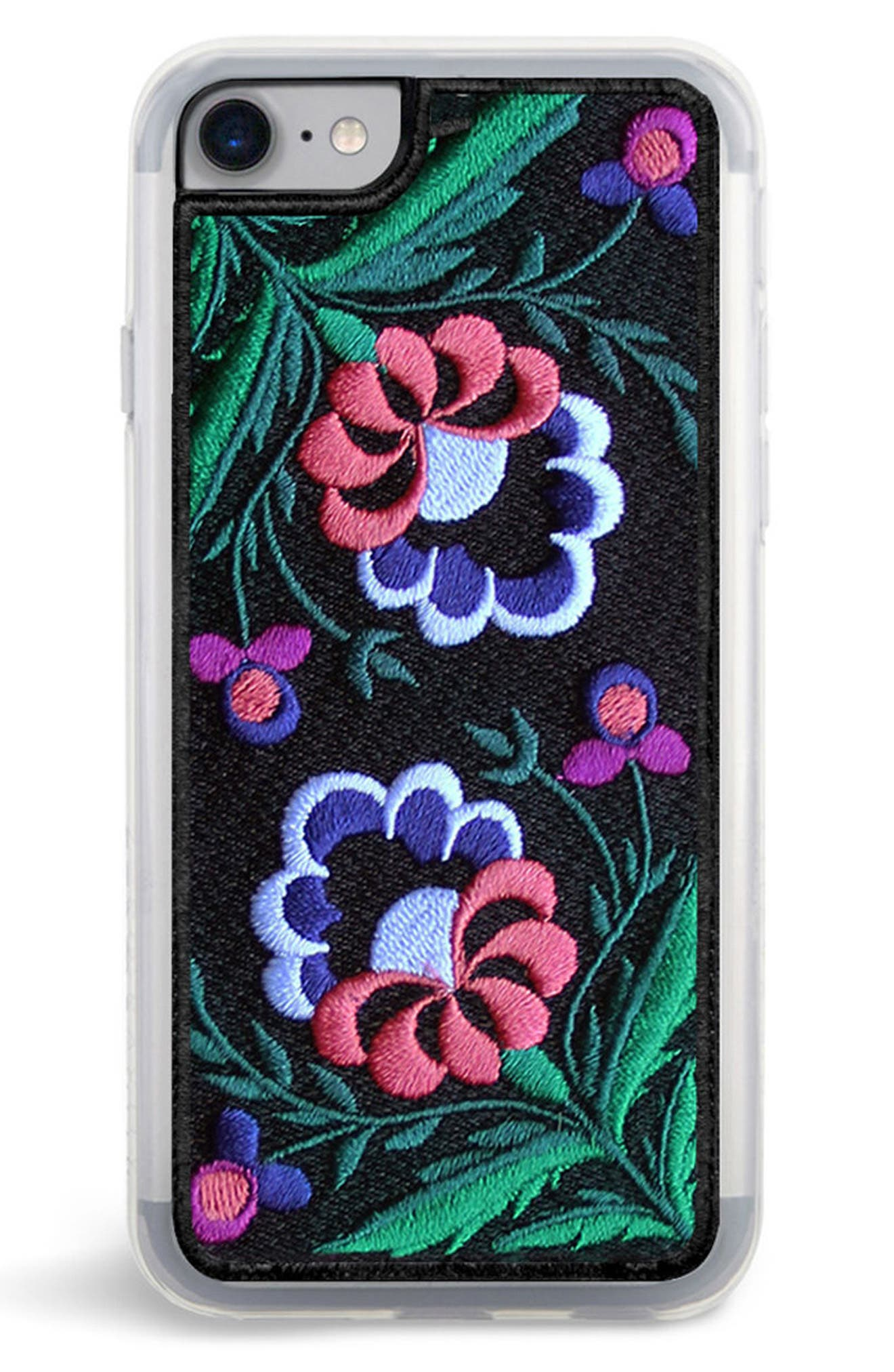 Belle Embroidered iPhone 7/8 & 7/8 Plus Case,                             Main thumbnail 1, color,                             Black Multi