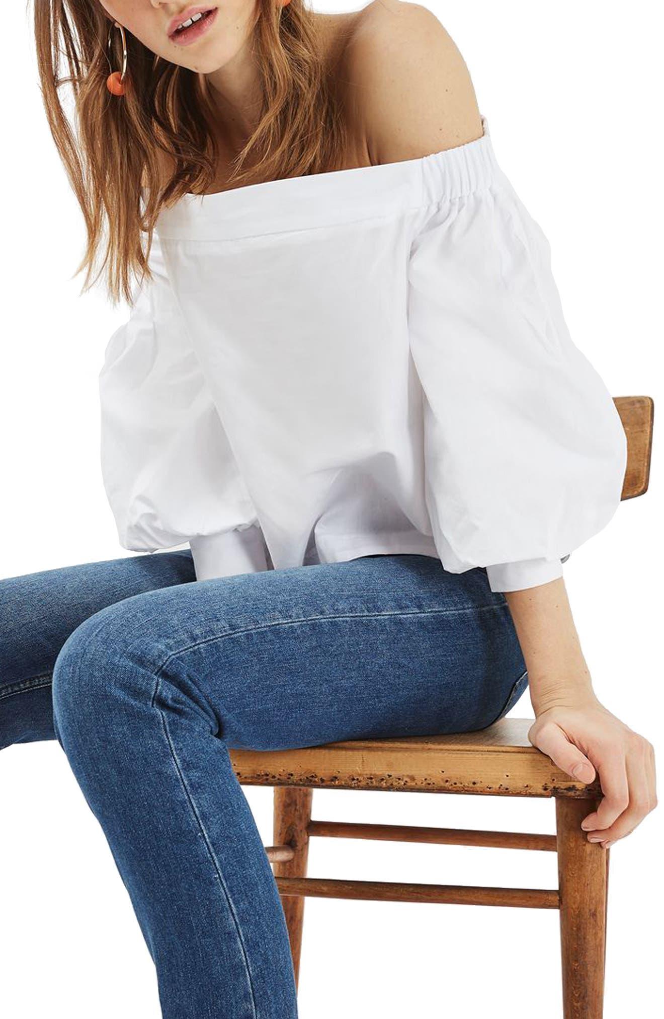 Alternate Image 2  - Topshop Puff Sleeve Off the Shoulder Top
