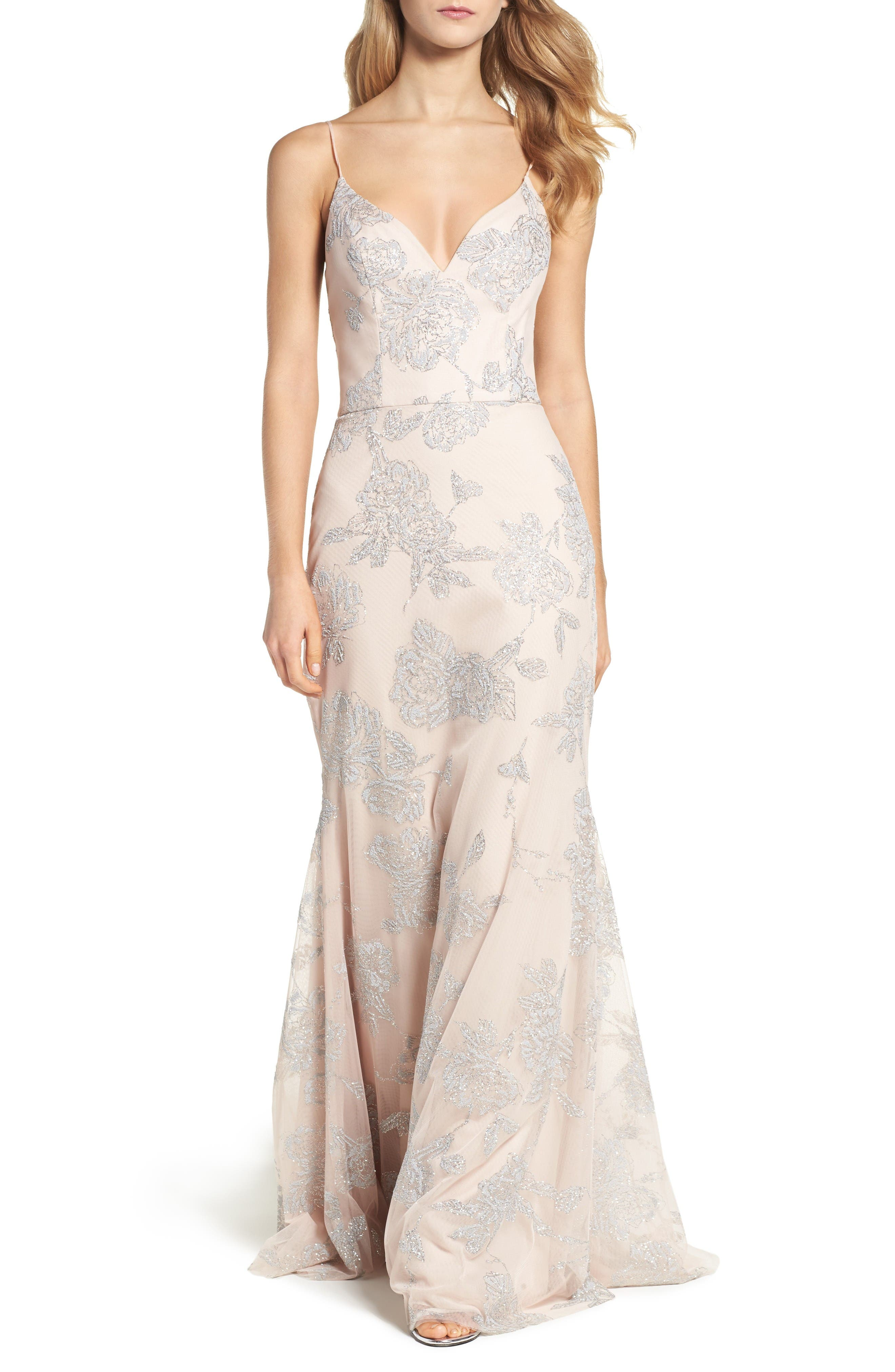 Metallic Tulle Gown,                         Main,                         color, Almond