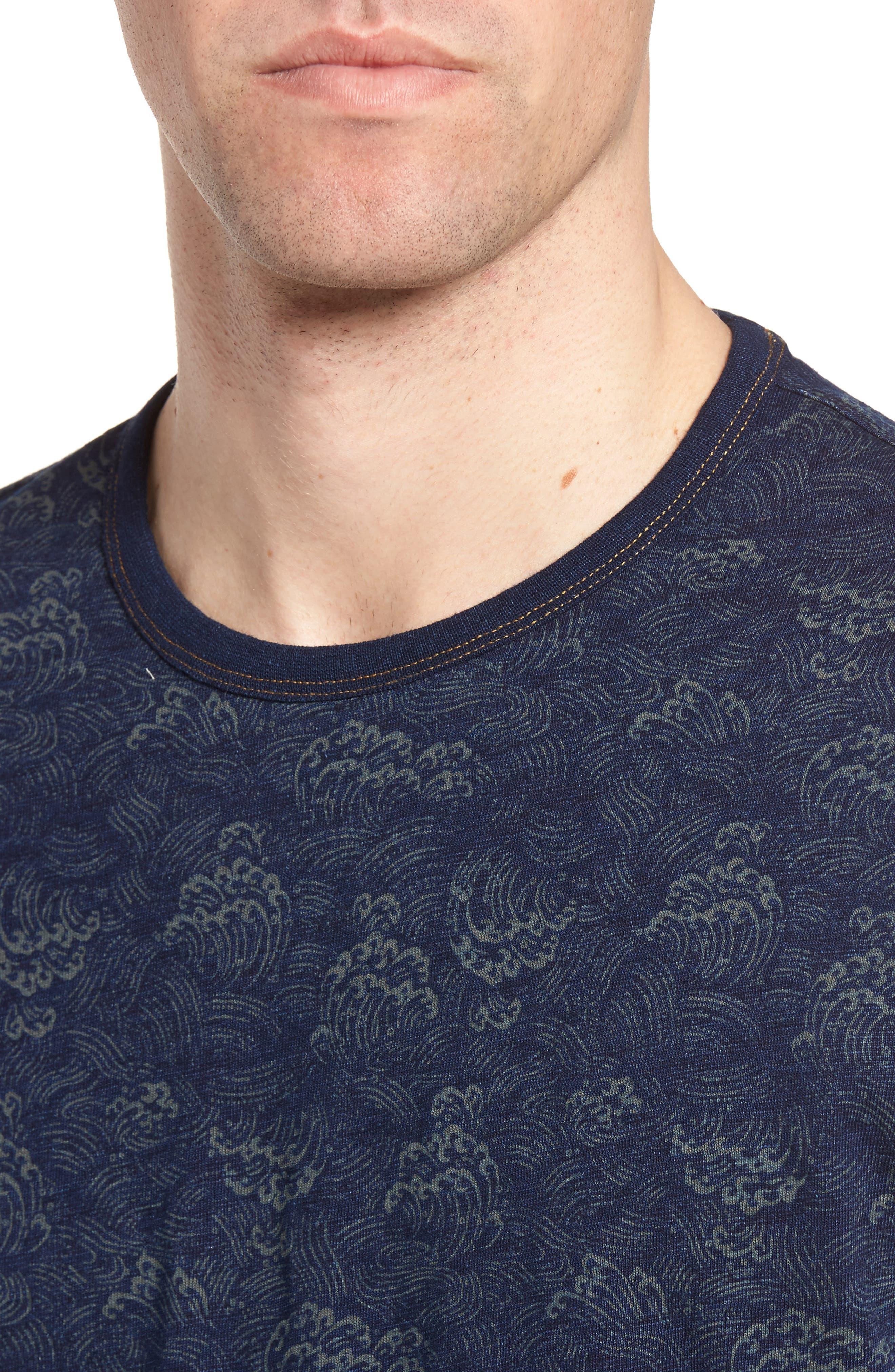 Swell Print Indigo Slub Jersey T-Shirt,                             Alternate thumbnail 4, color,                             Admiral