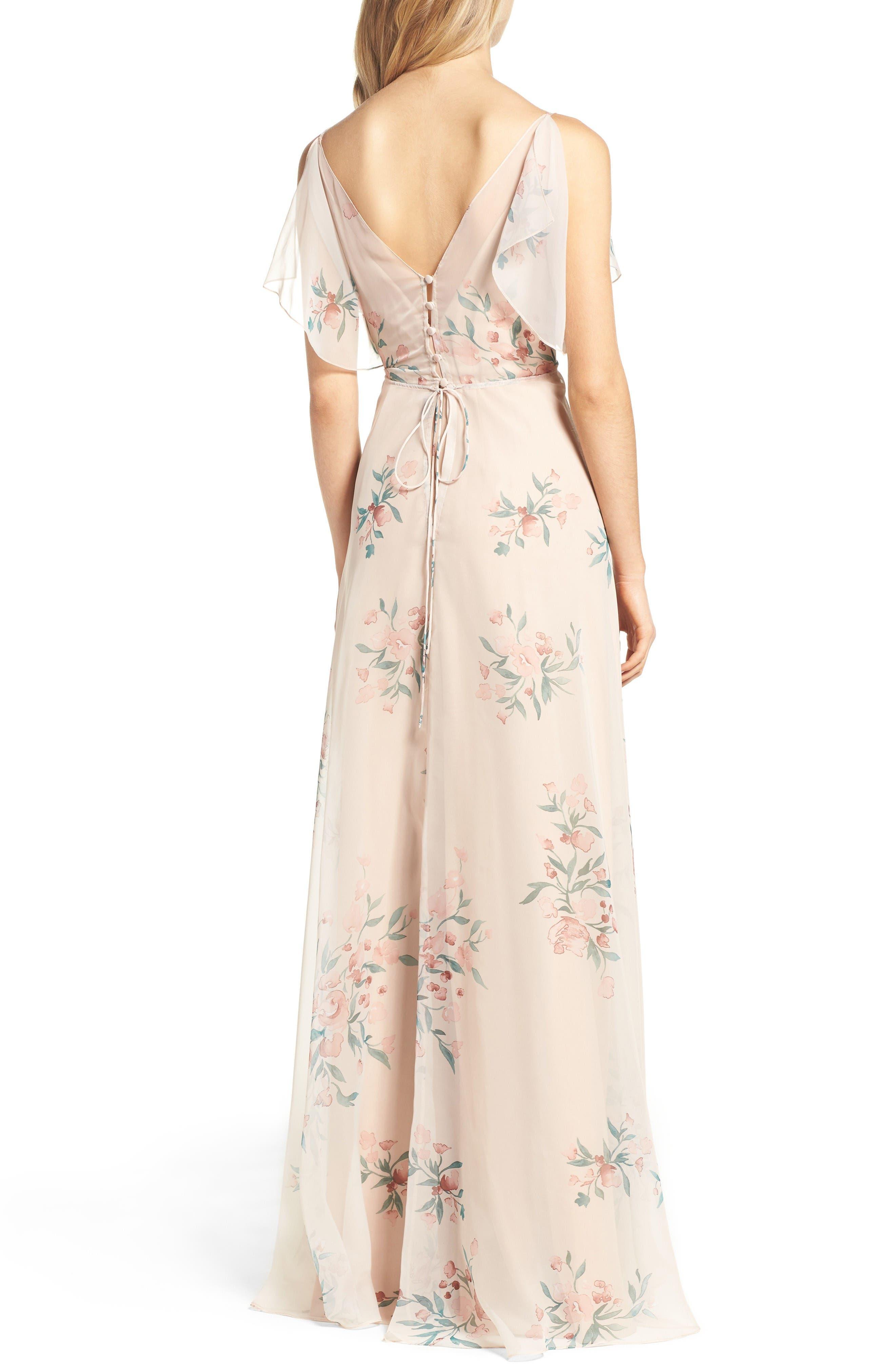 Cassie Flutter Sleeve Surplice Gown,                             Alternate thumbnail 2, color,                             Blush Chai