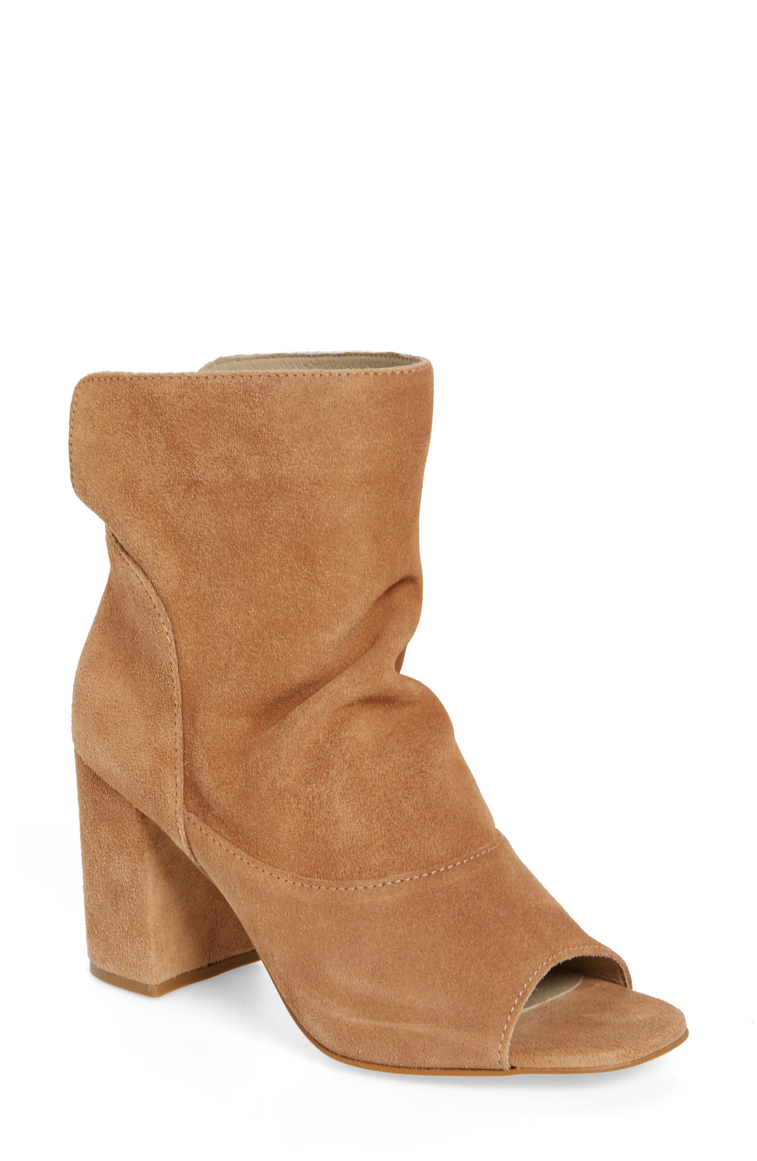 Gordy Peeptoe Bootie,                             Main thumbnail 1, color,                             Natural Suede