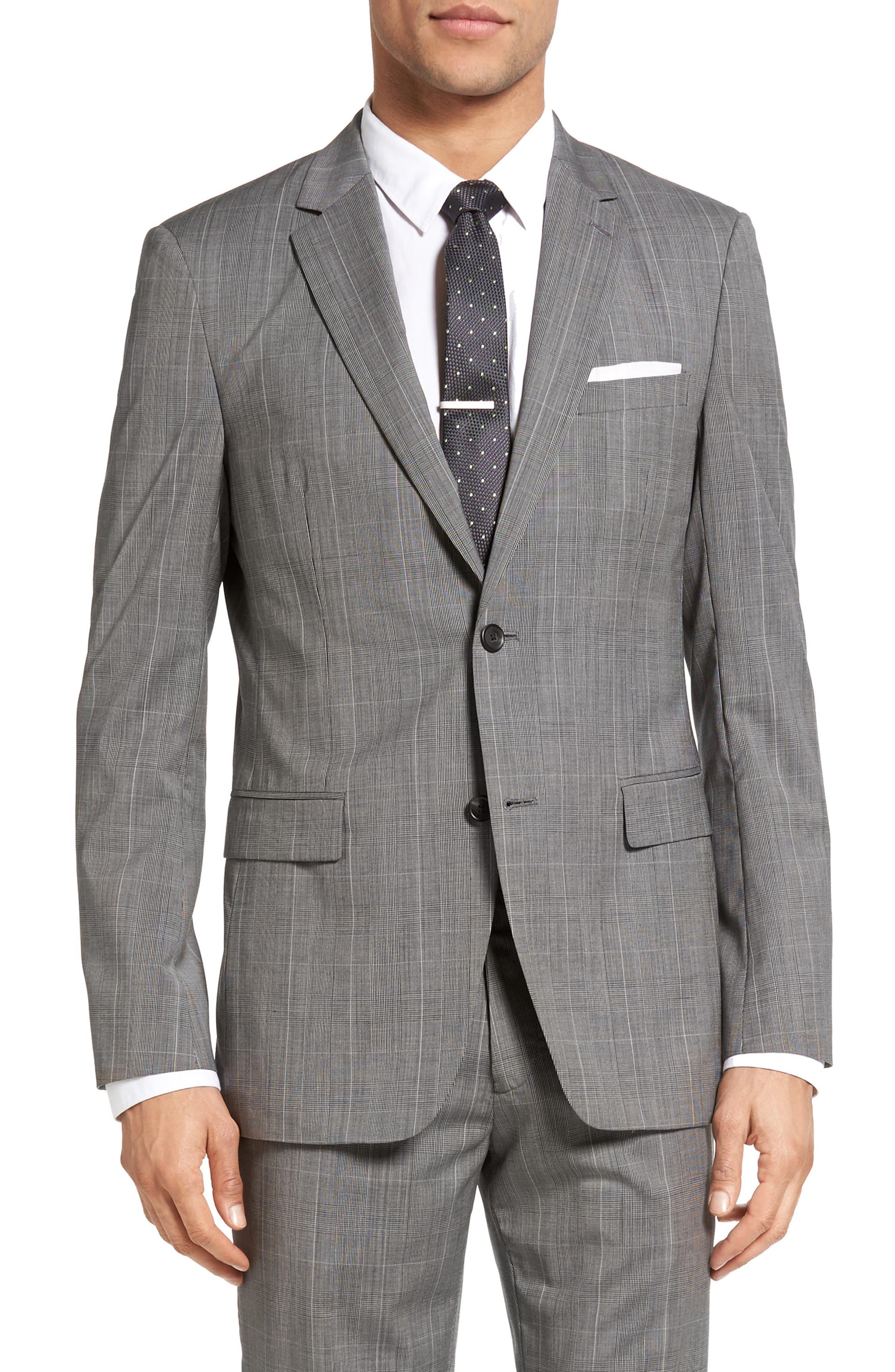 THEORY Wellar Kinver Trim Fit Windowpane Wool Sport Coat