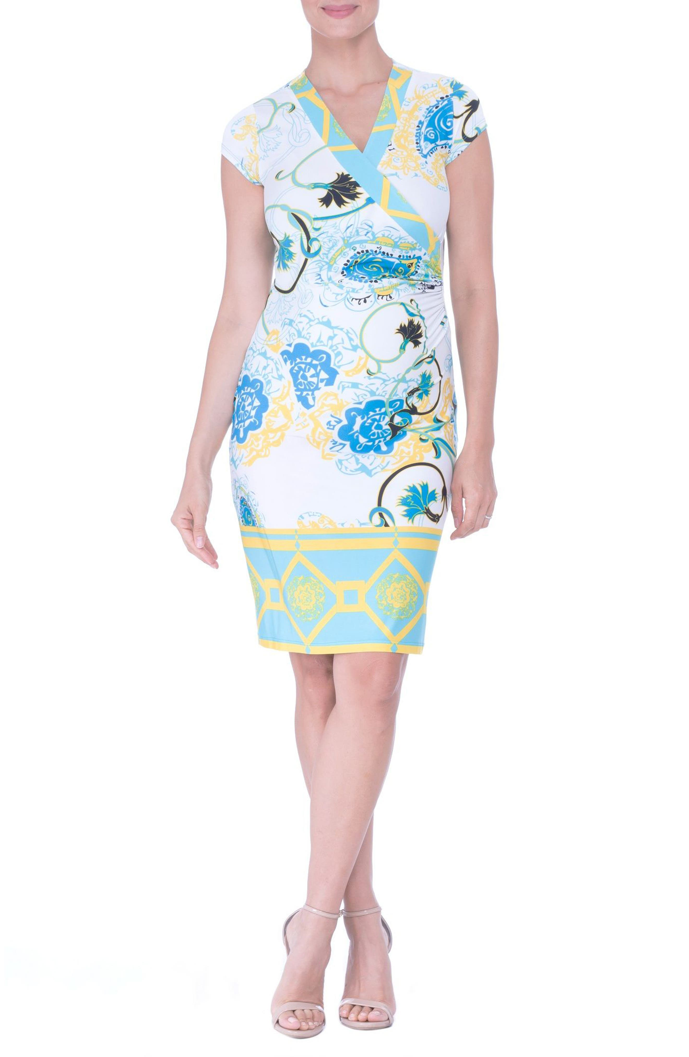 Faux Wrap Maternity Dress,                         Main,                         color, Aqua