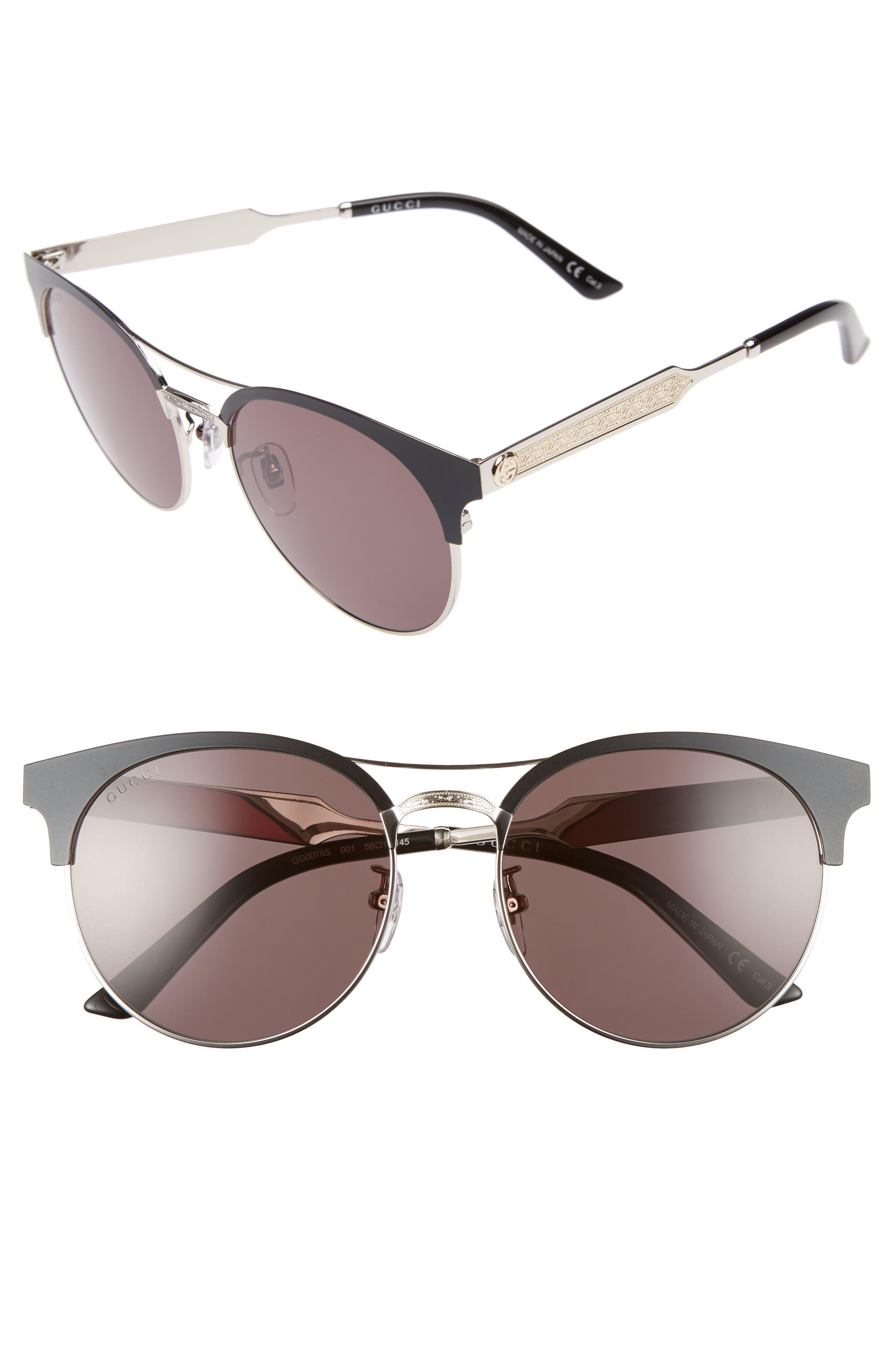 56mm Retro Sunglasses,                             Main thumbnail 1, color,                             Matte Black/ Grey