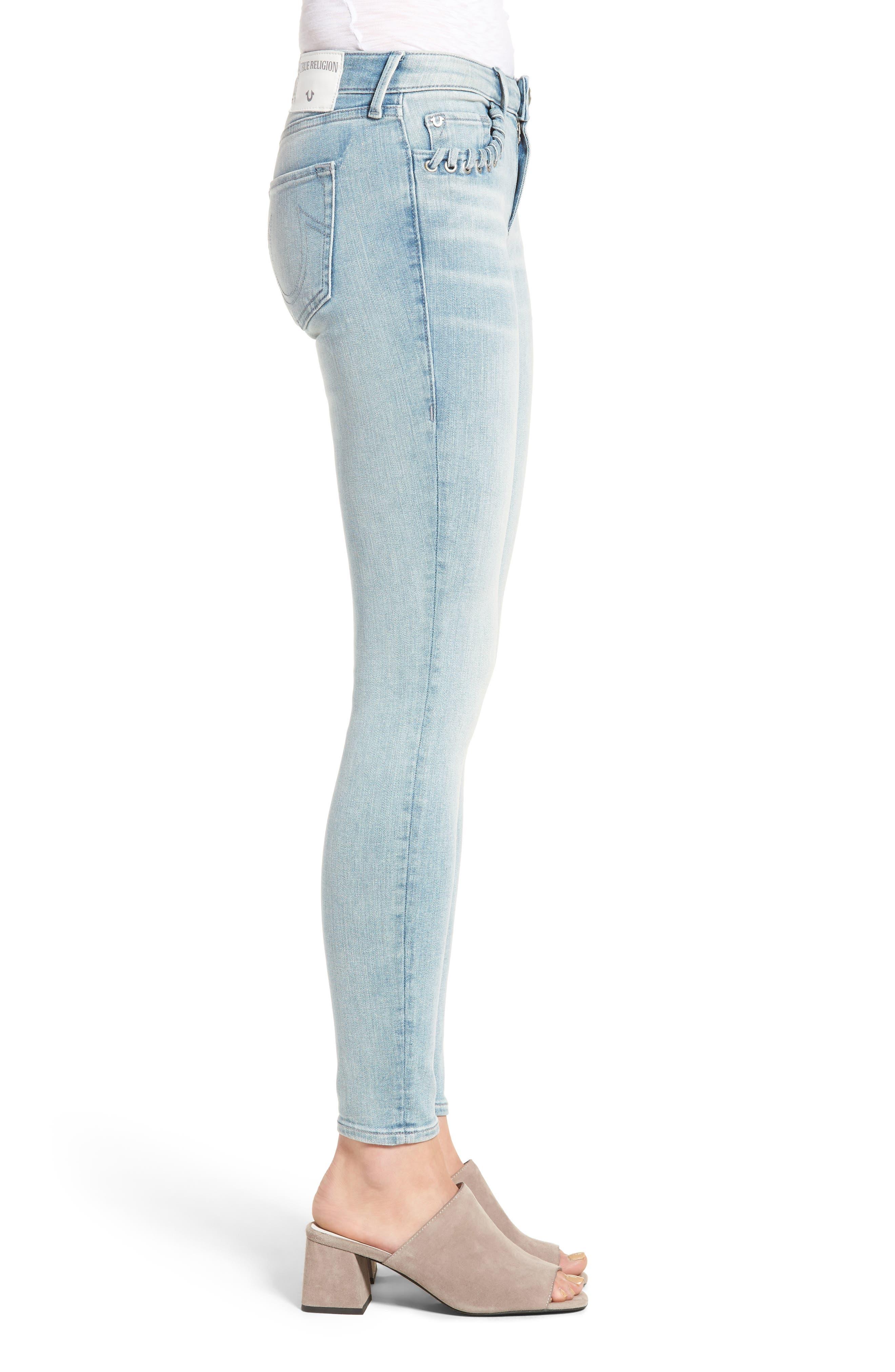 Halle Super Skinny Jeans,                             Alternate thumbnail 3, color,                             Cloud Nine