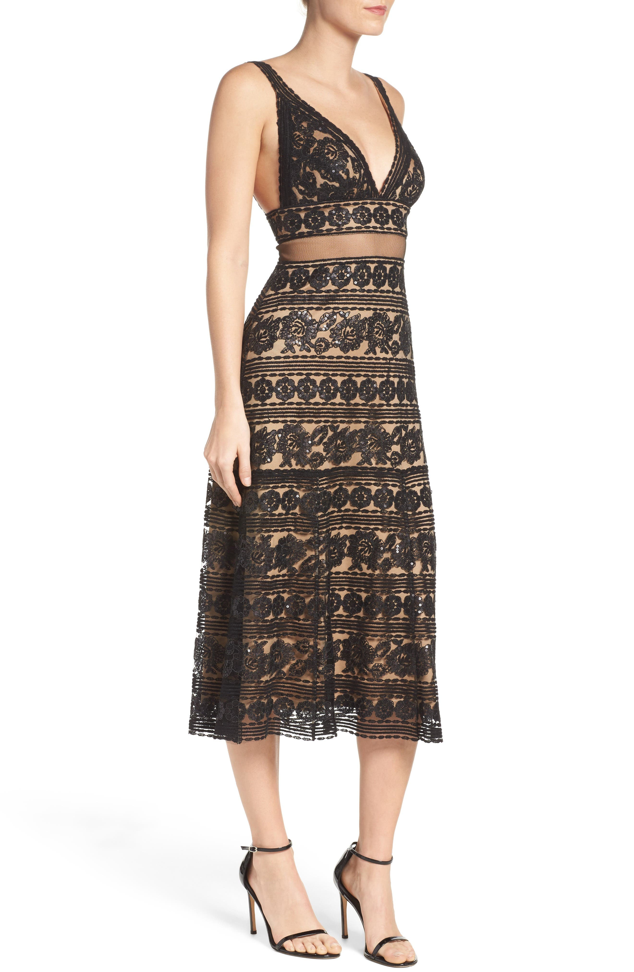 Alternate Image 3  - Tadashi Shoji Deep V Lace Midi Dress