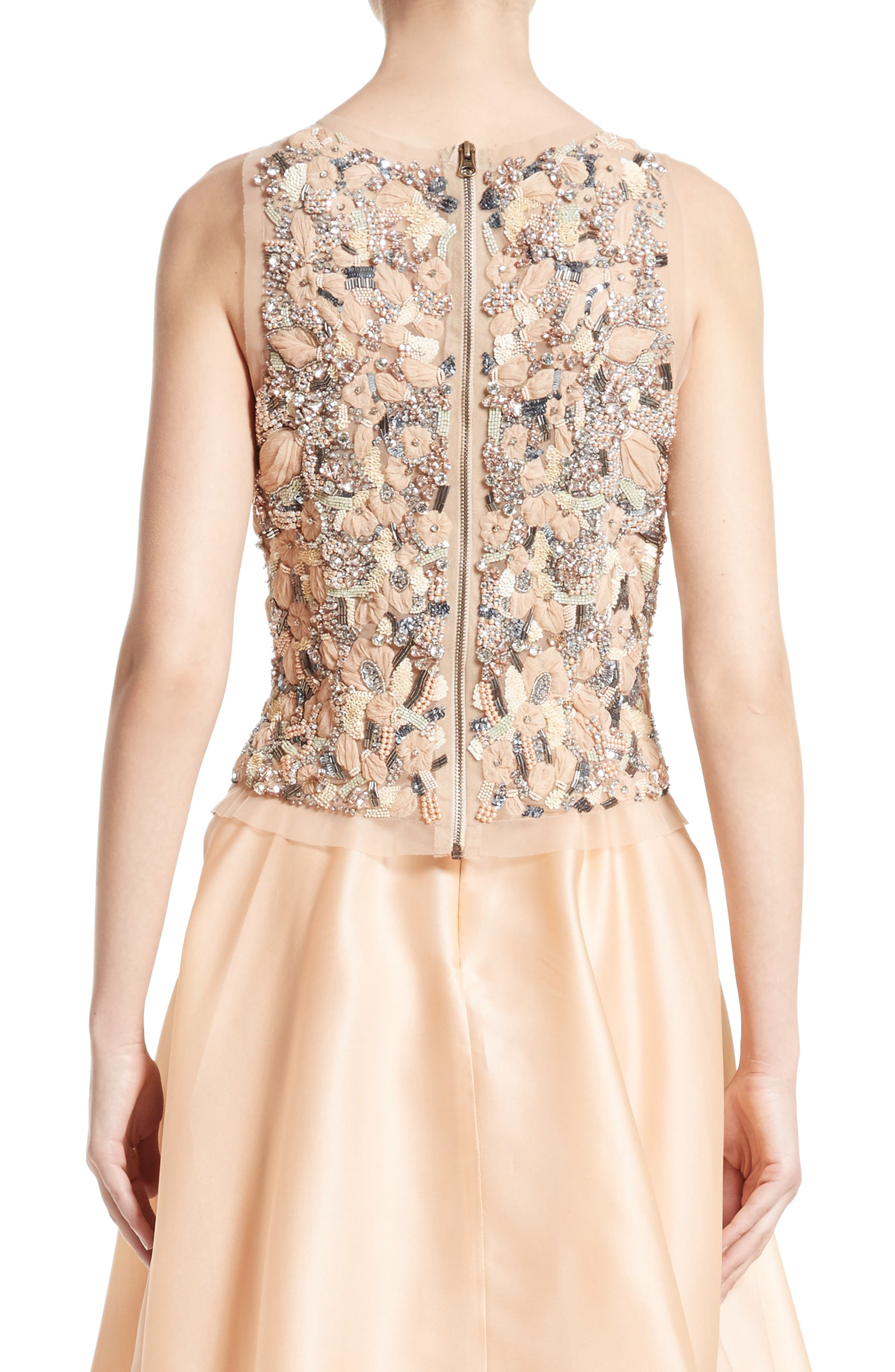 Badgley Mischka Couture Beaded Top,                             Alternate thumbnail 2, color,                             Peach