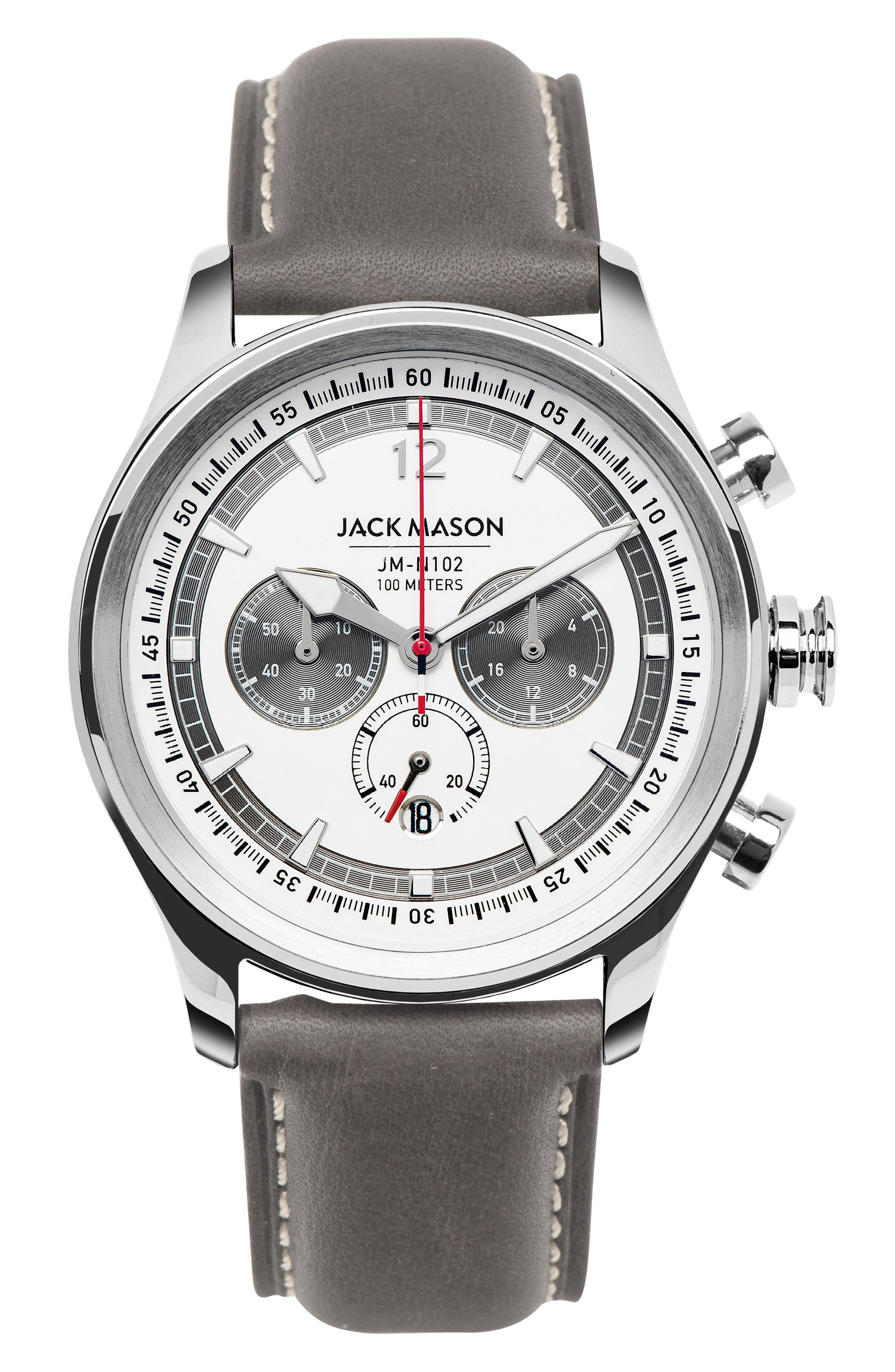 Nautical Chronograph Leather Strap Watch, 42mm,                             Main thumbnail 1, color,                             White/ Grey