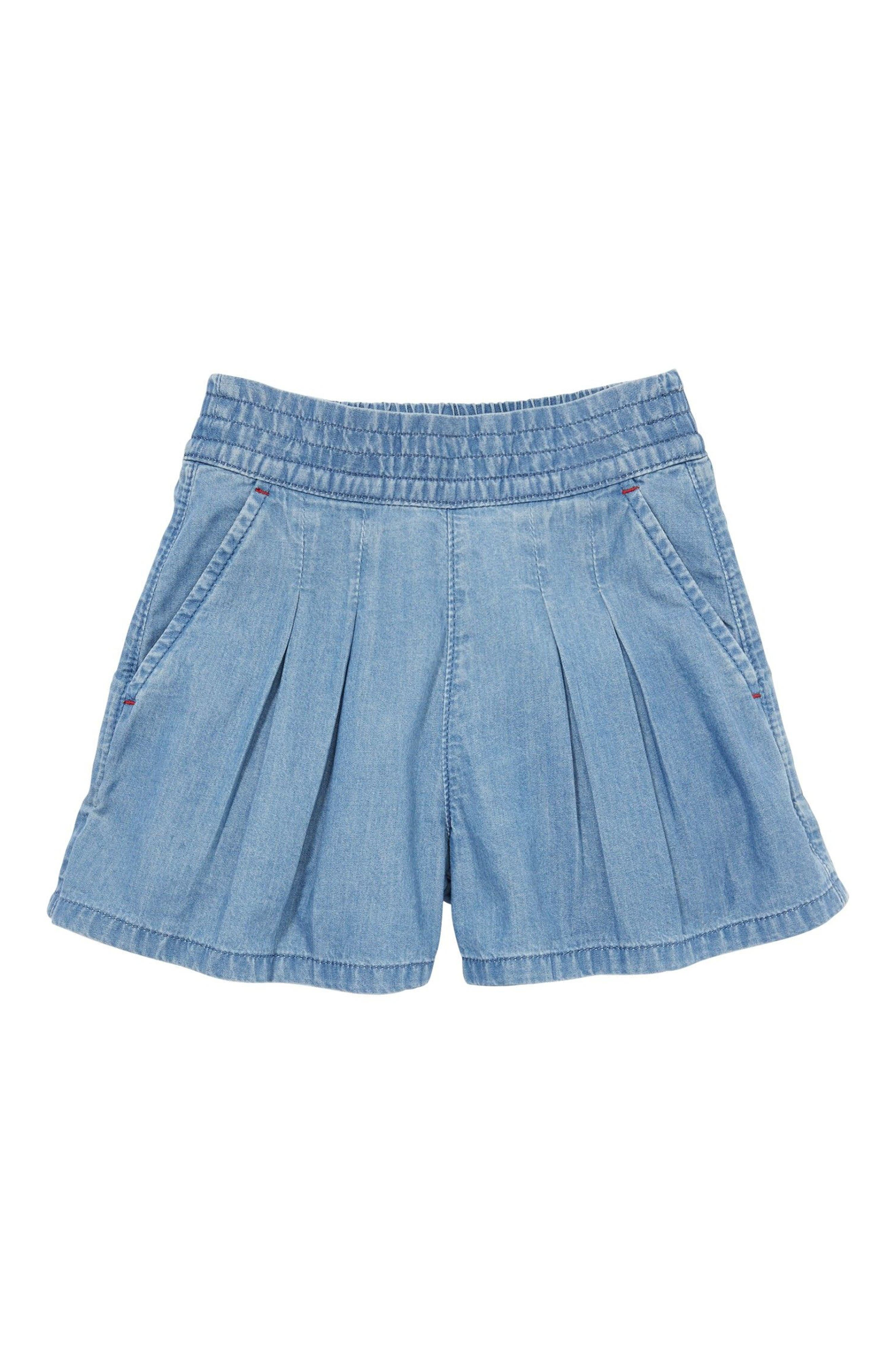 Mini Boden Pull-On Denim Shorts (Toddler Girls, Little Girls & Big Girls)