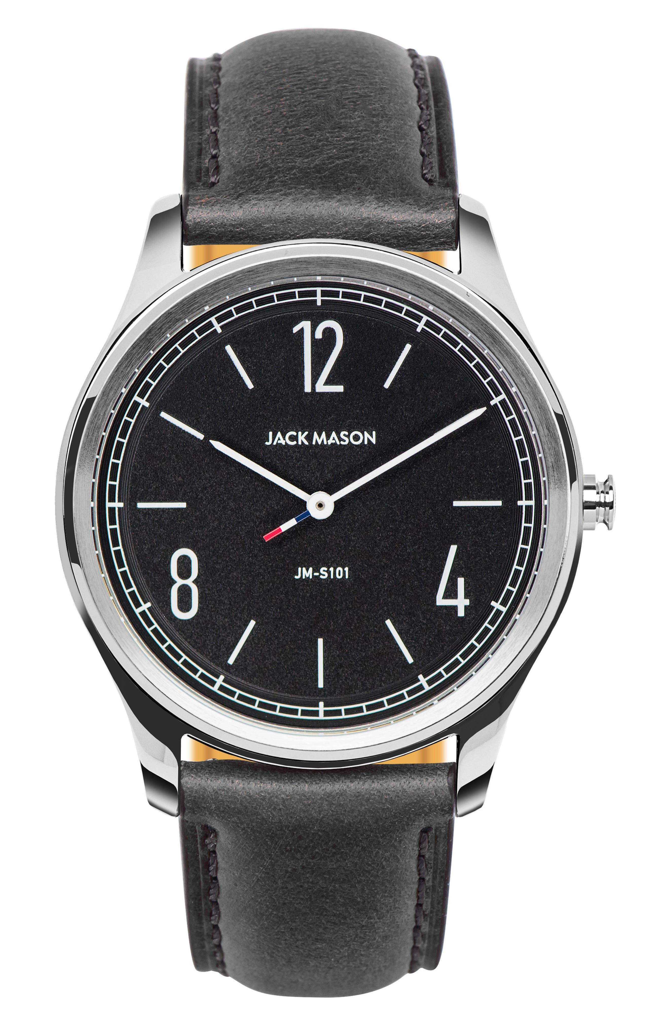Slim Leather Strap Watch, 42mm,                         Main,                         color, Black/ Black