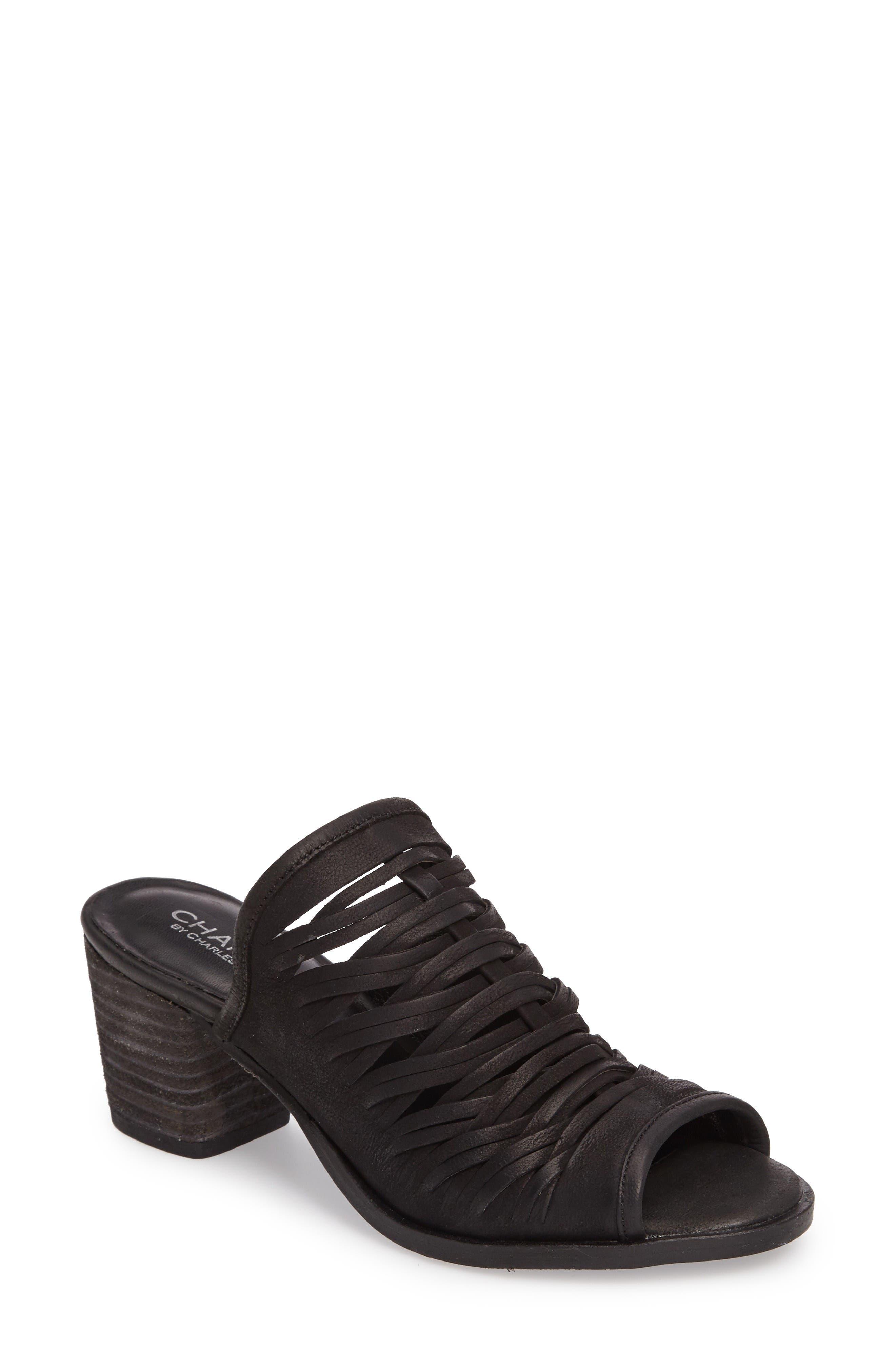 Chris Slivered Sandal,                         Main,                         color, Black Leather