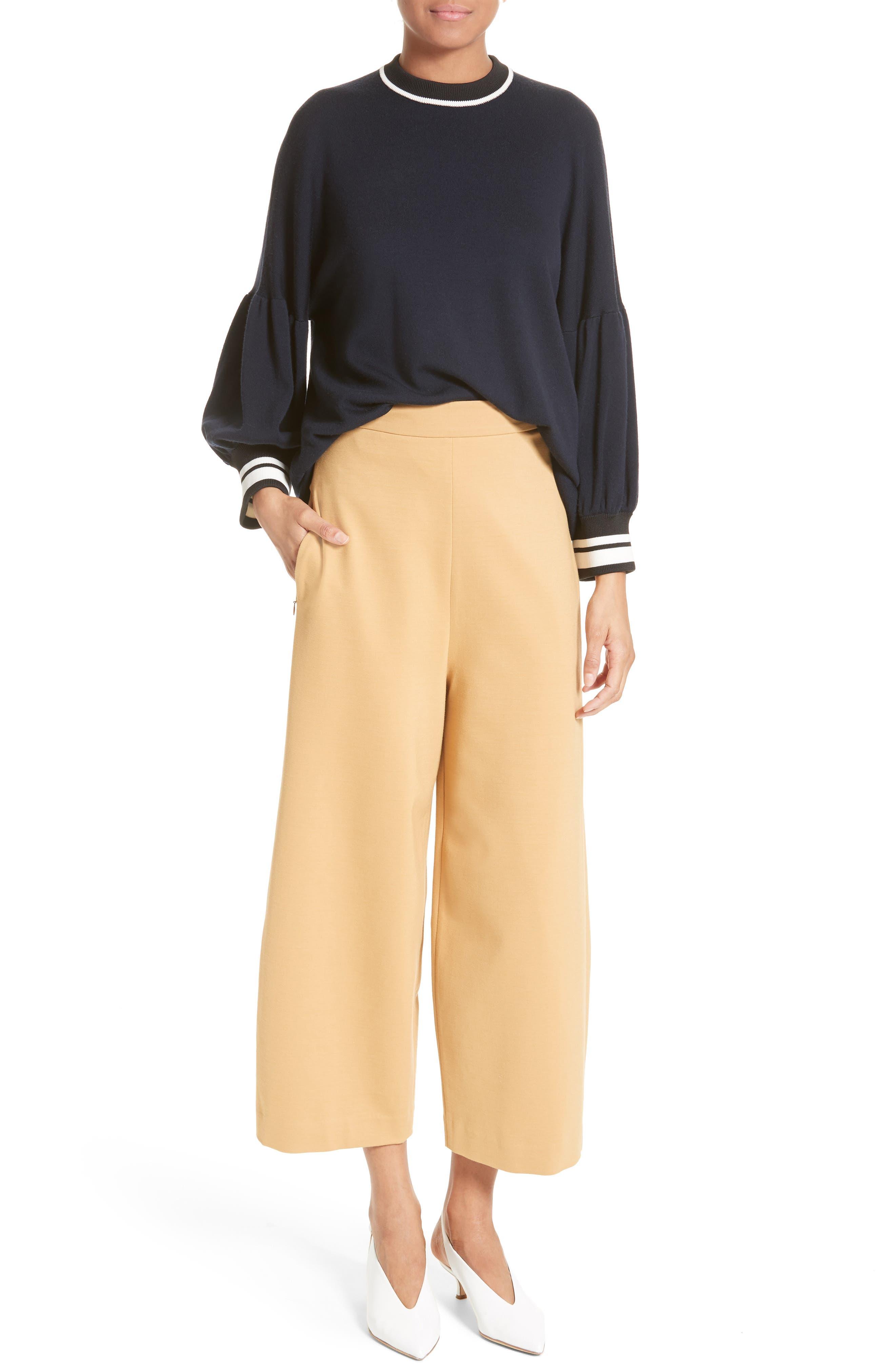 Alternate Image 2  - Tibi High Rise Knit Crop Wide Leg Pants