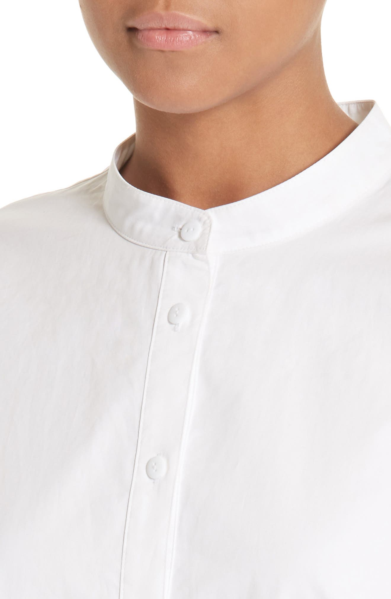 Shirred Satin Poplin Shirt,                             Alternate thumbnail 5, color,                             White