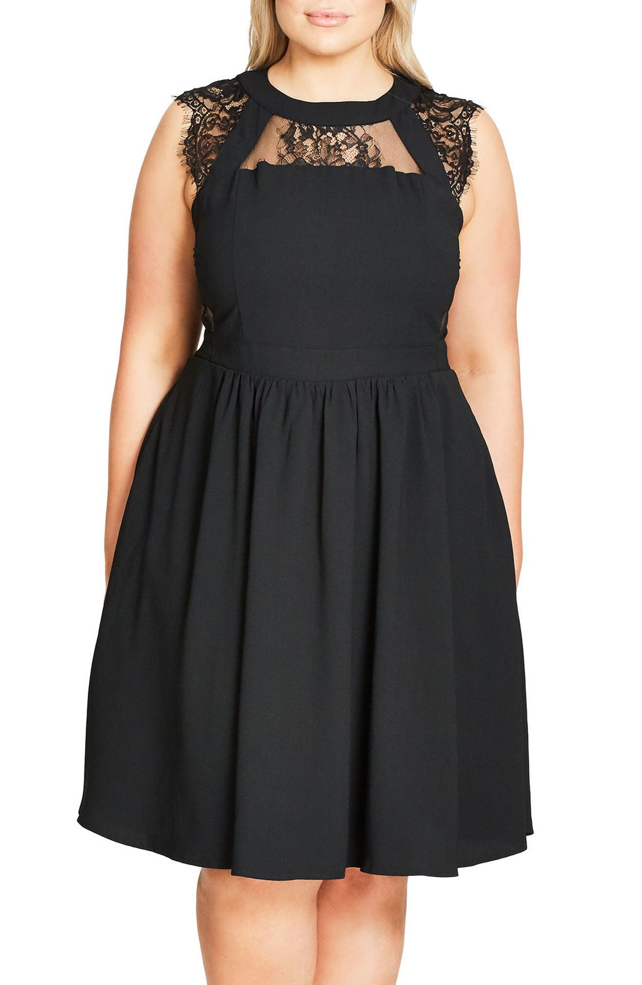 Cage Dress,                         Main,                         color, Black