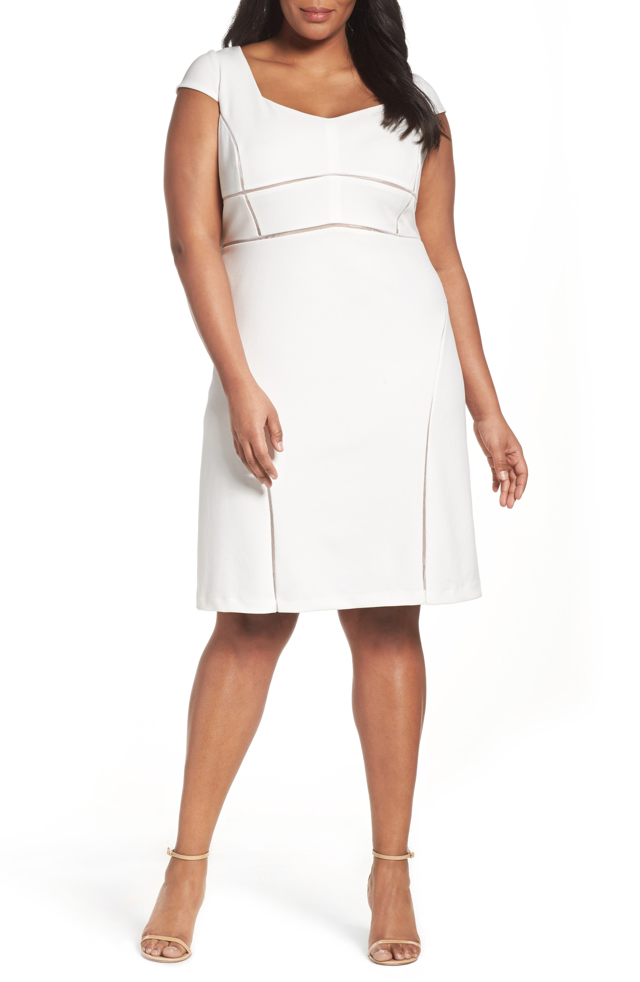 Alternate Image 1 Selected - Adrianna Papell Stretch Crepe Sheath Dress (Plus Size)