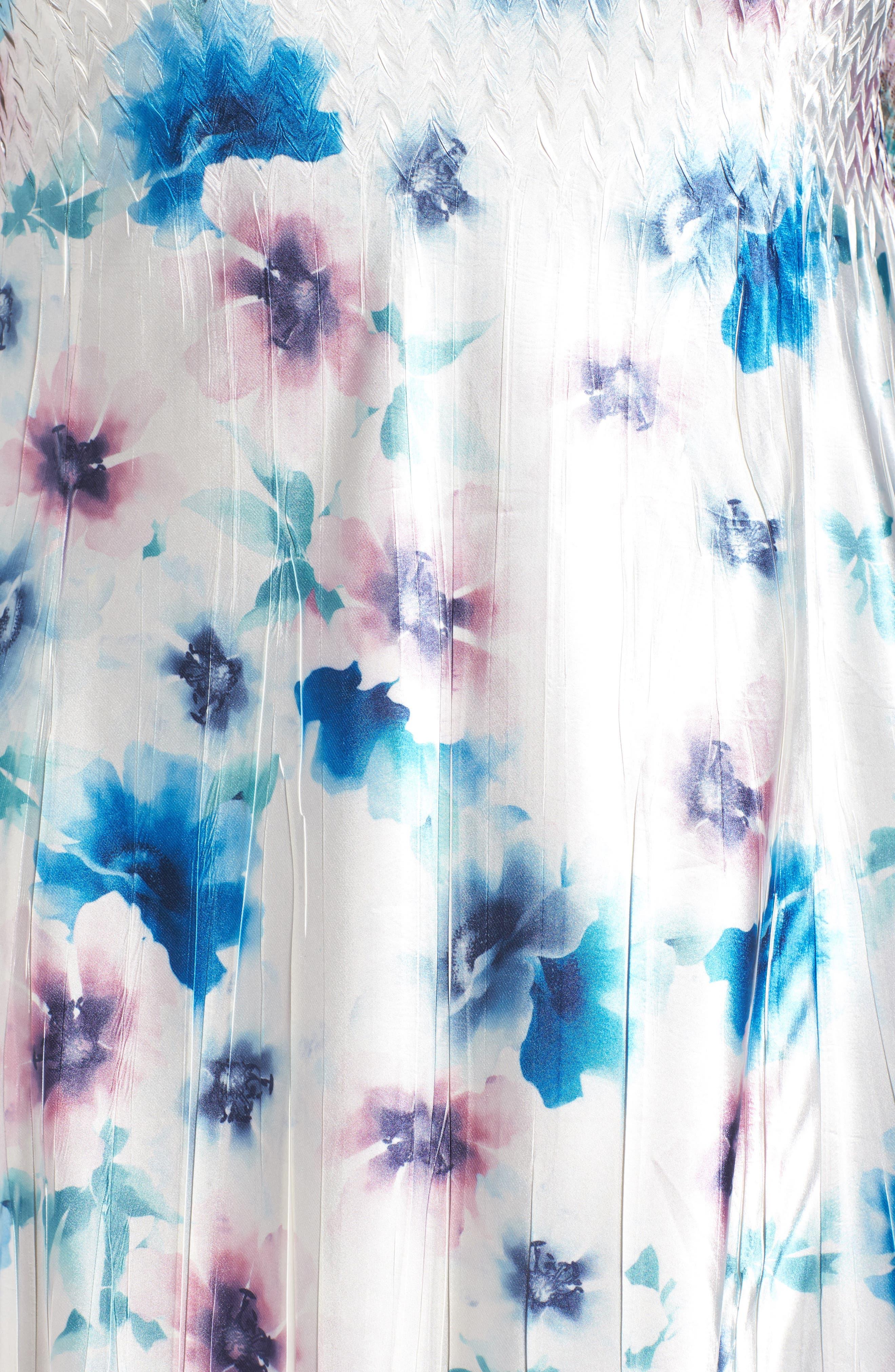 Floral Charmeuse & Chiffon A-Line Dress,                             Alternate thumbnail 5, color,                             Meadow Mist