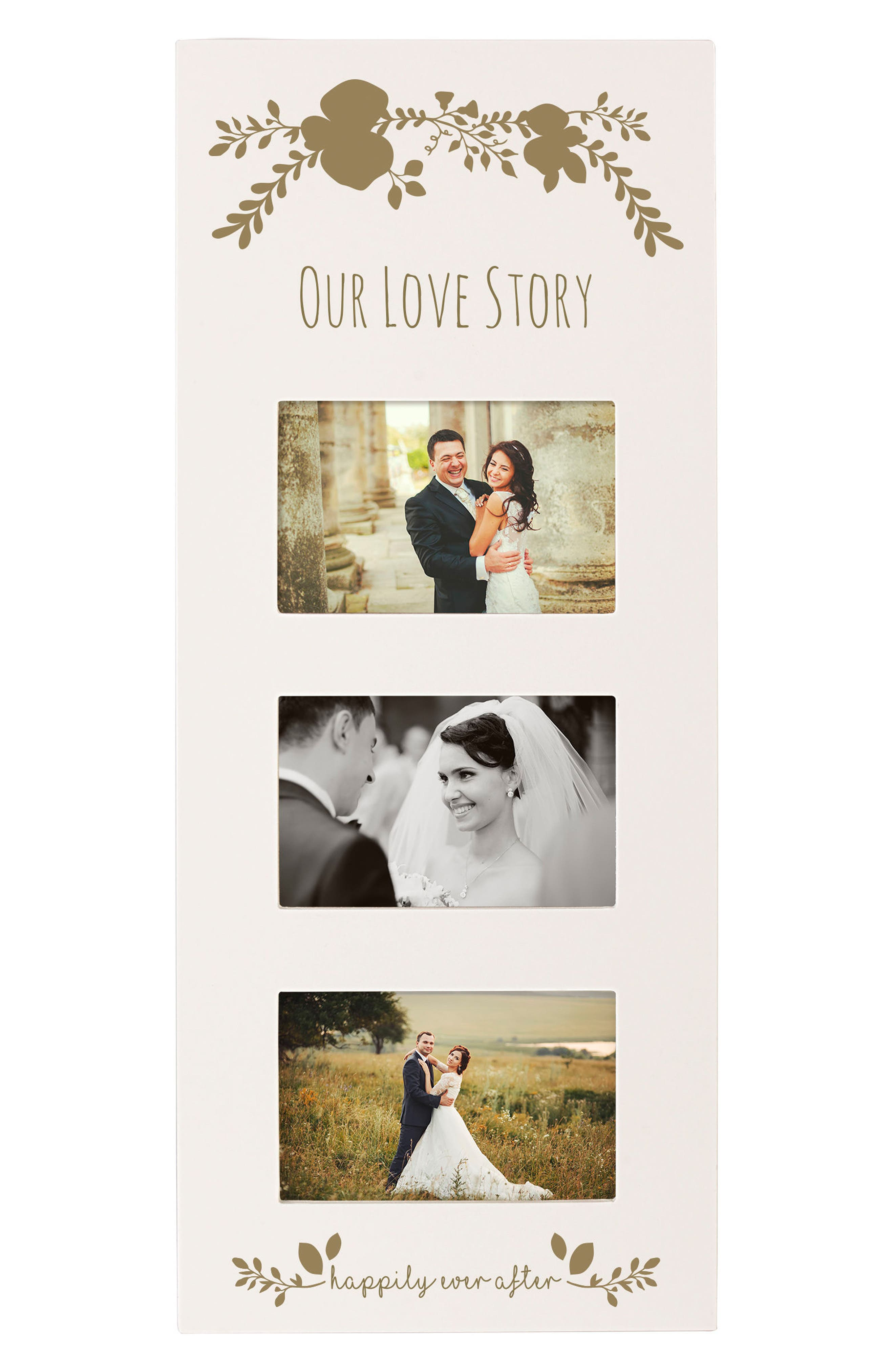 Gold Love Story 3-Window Picture Frame,                         Main,                         color, White