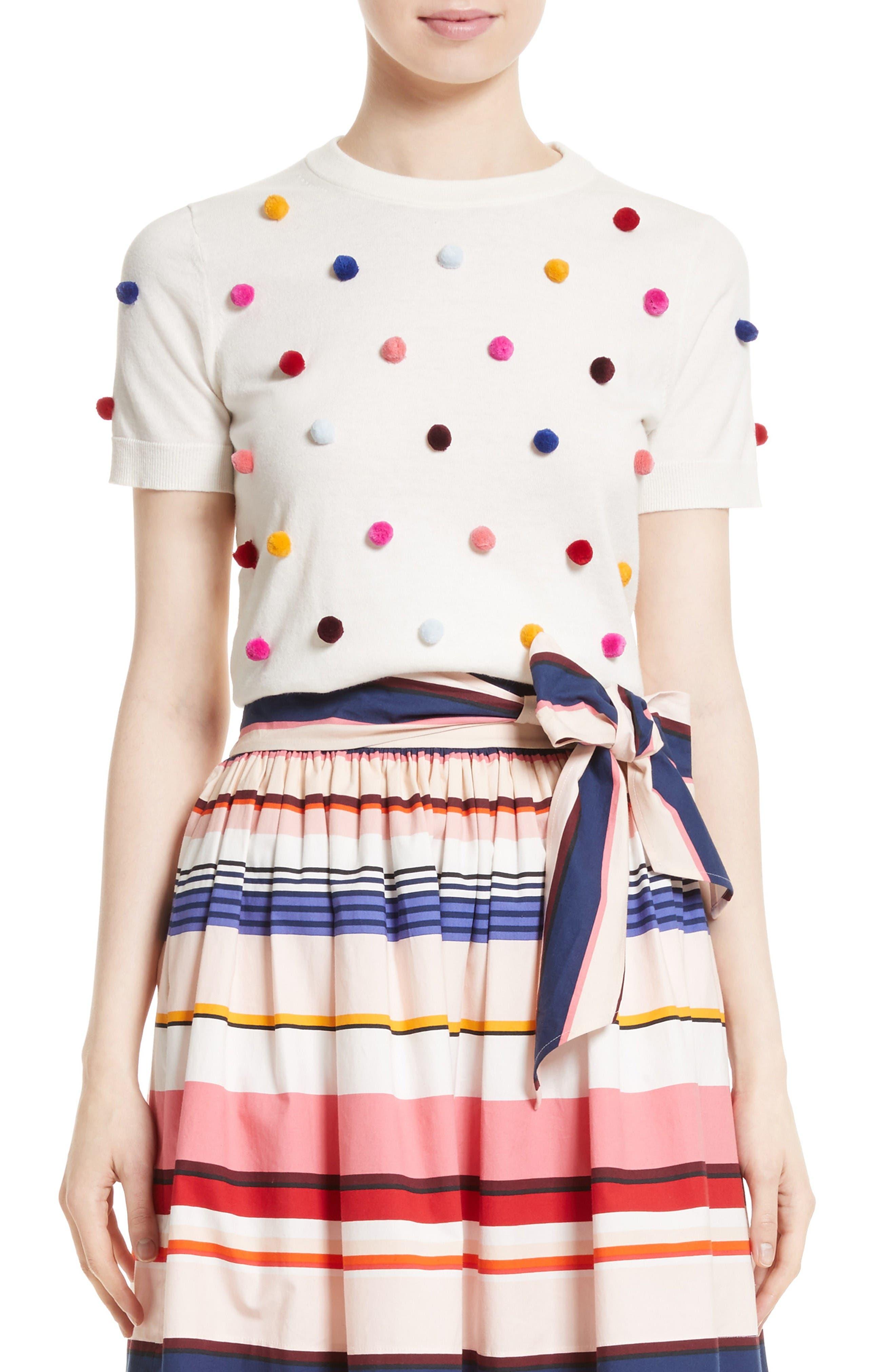 Main Image - kate spade new york pom embellished cotton & cashmere sweater