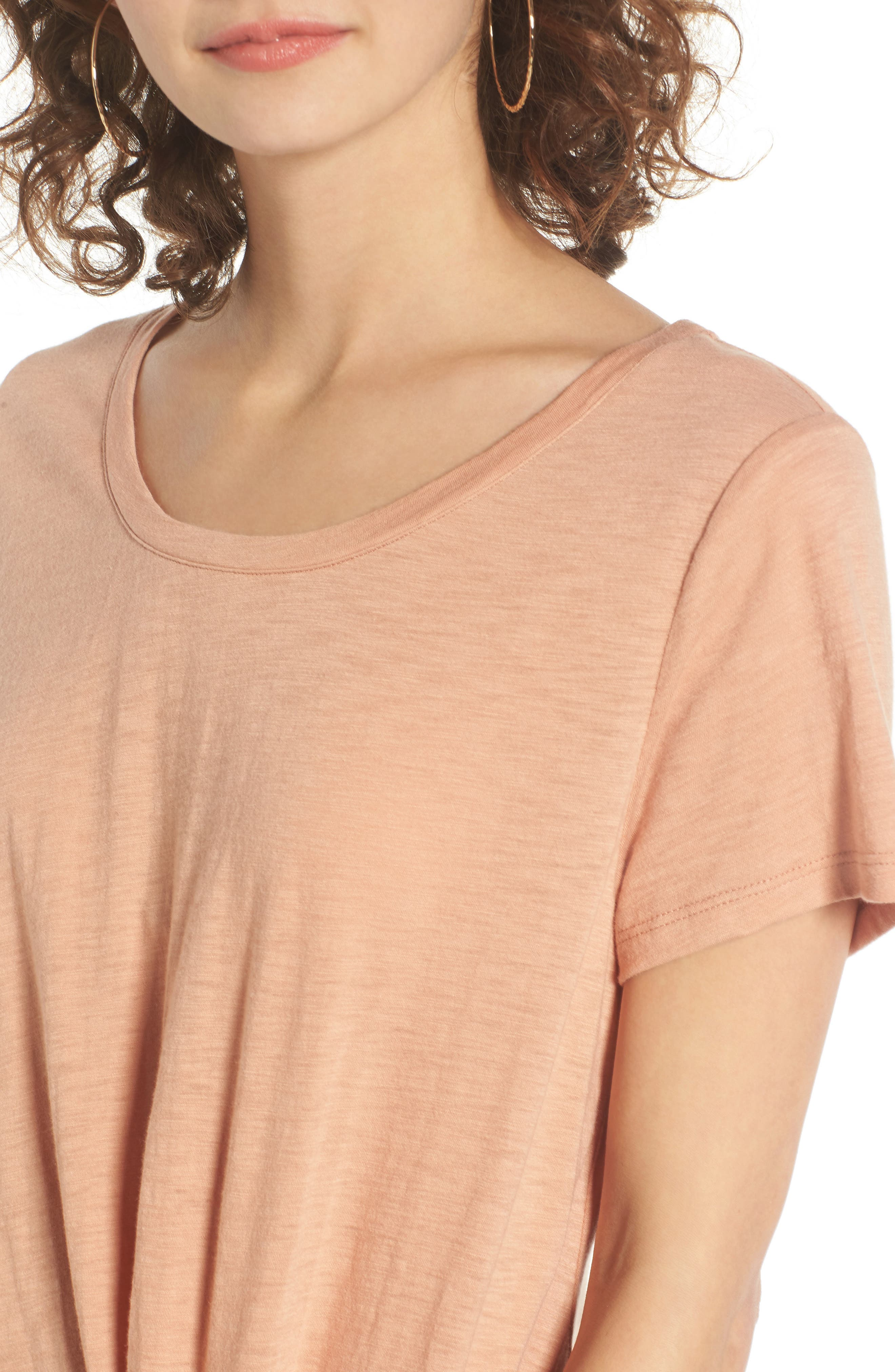 Twist Front Tee,                             Alternate thumbnail 4, color,                             Tan Cork