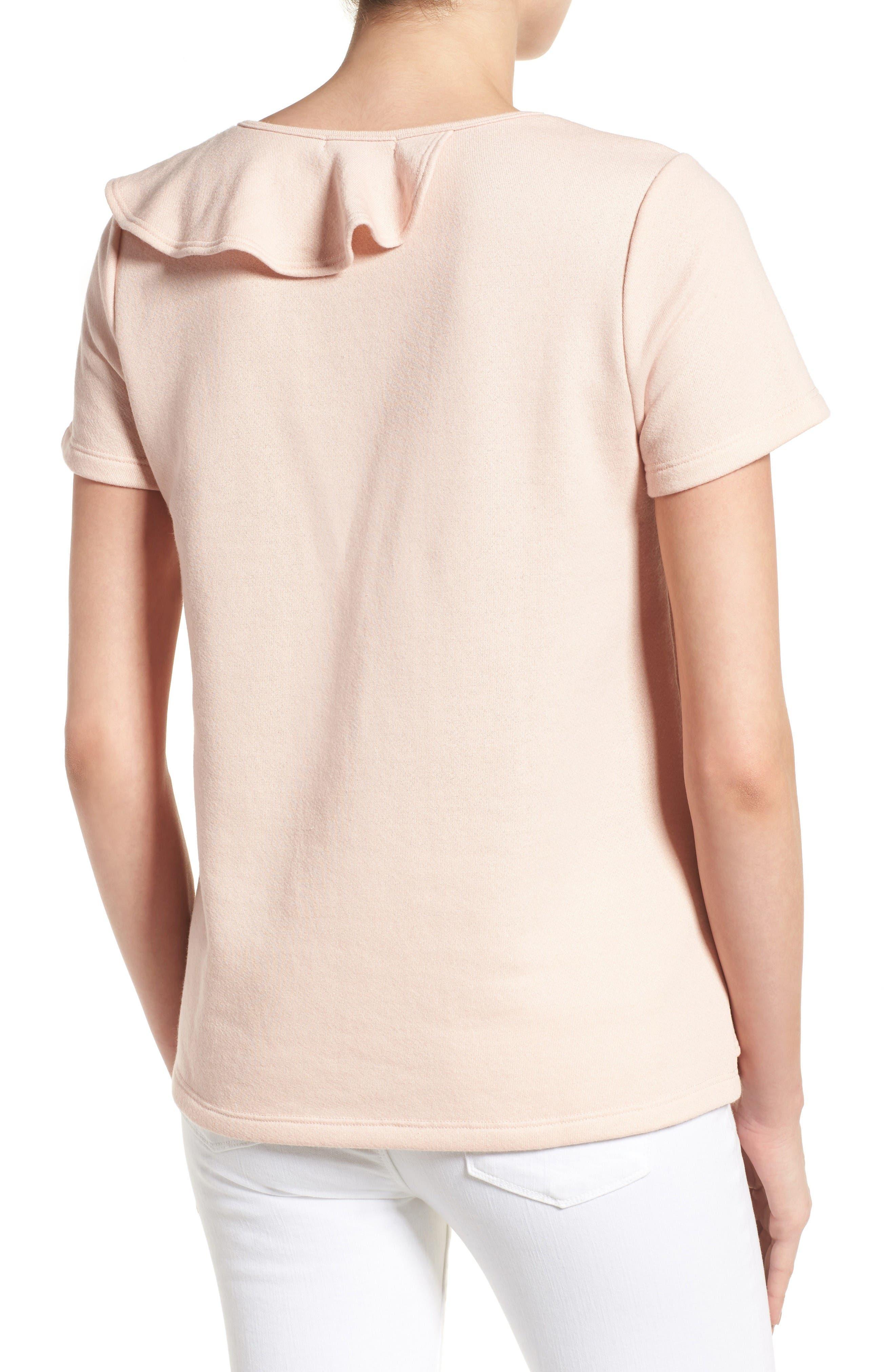 Alternate Image 2  - Pleione Asymmetrical Ruffle Sweatshirt (Regular & Petite)