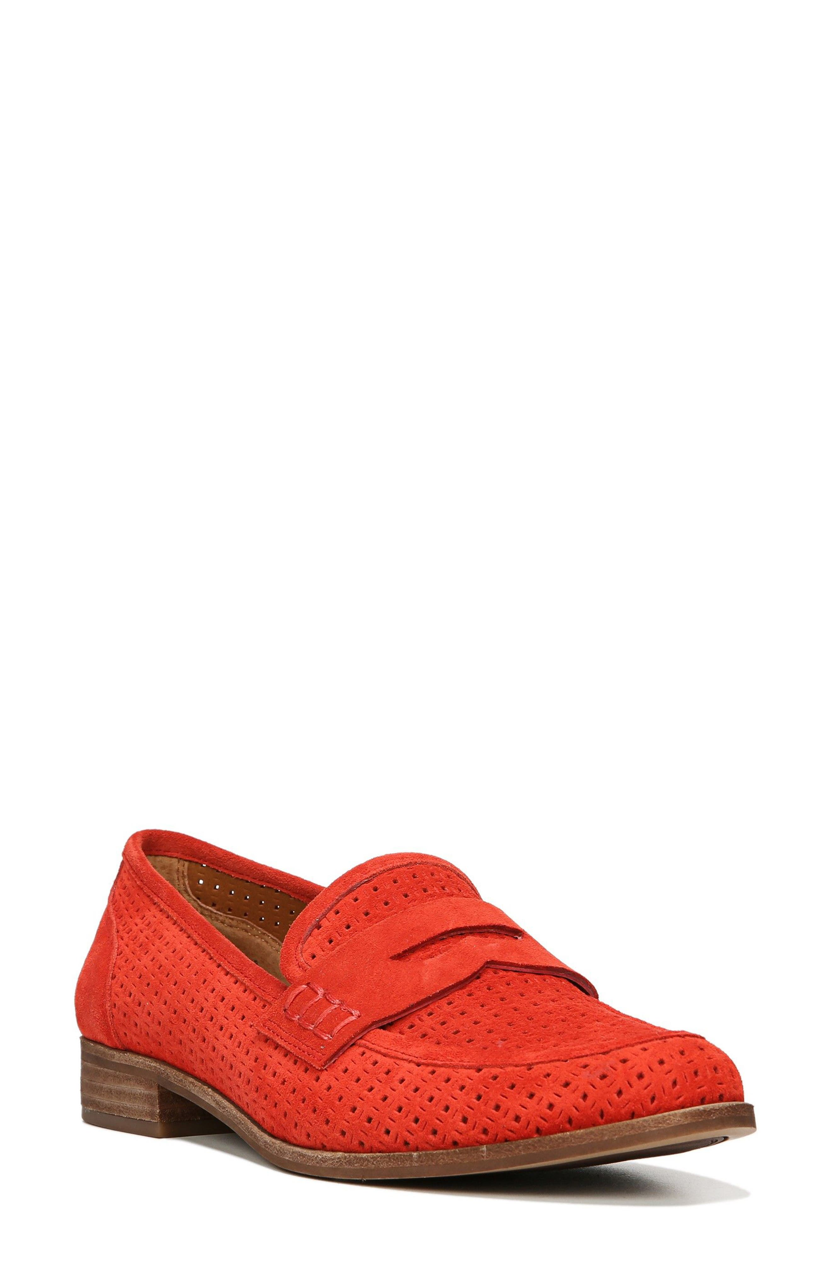 'Jolette' Penny Loafer,                         Main,                         color, Red Perforated Suede