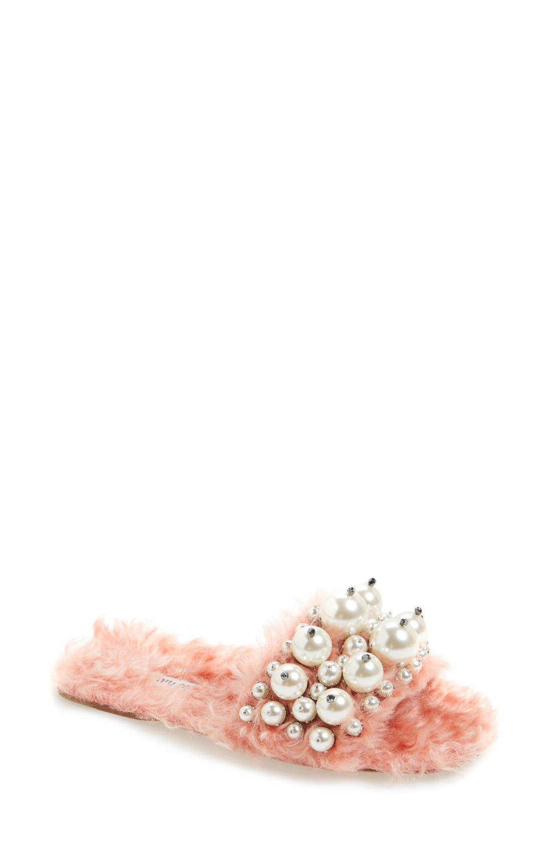 Miu Miu Embellished Faux Fur Slipper (Women)