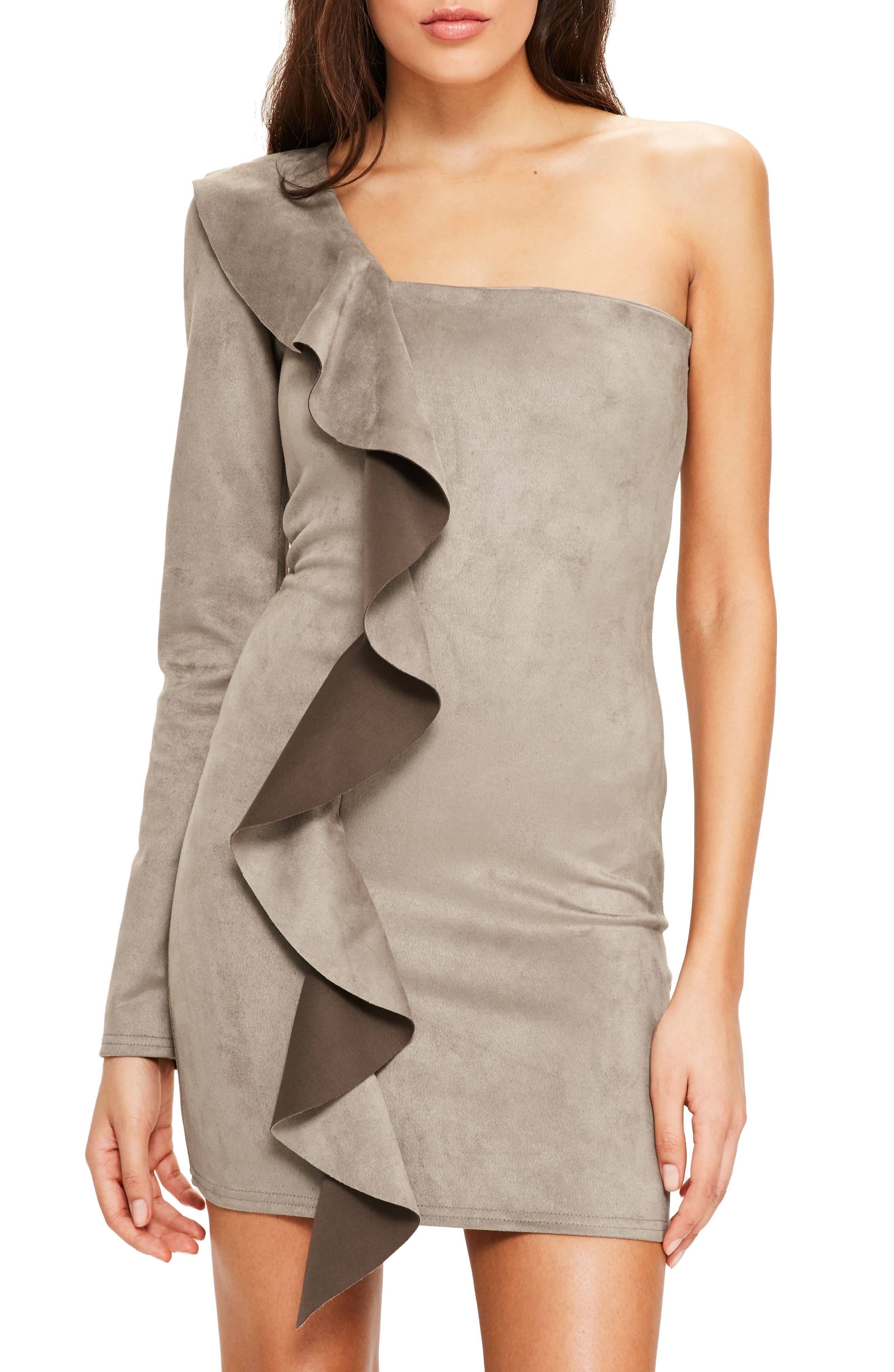 Main Image - Missguided One-Shoulder Suede Minidress