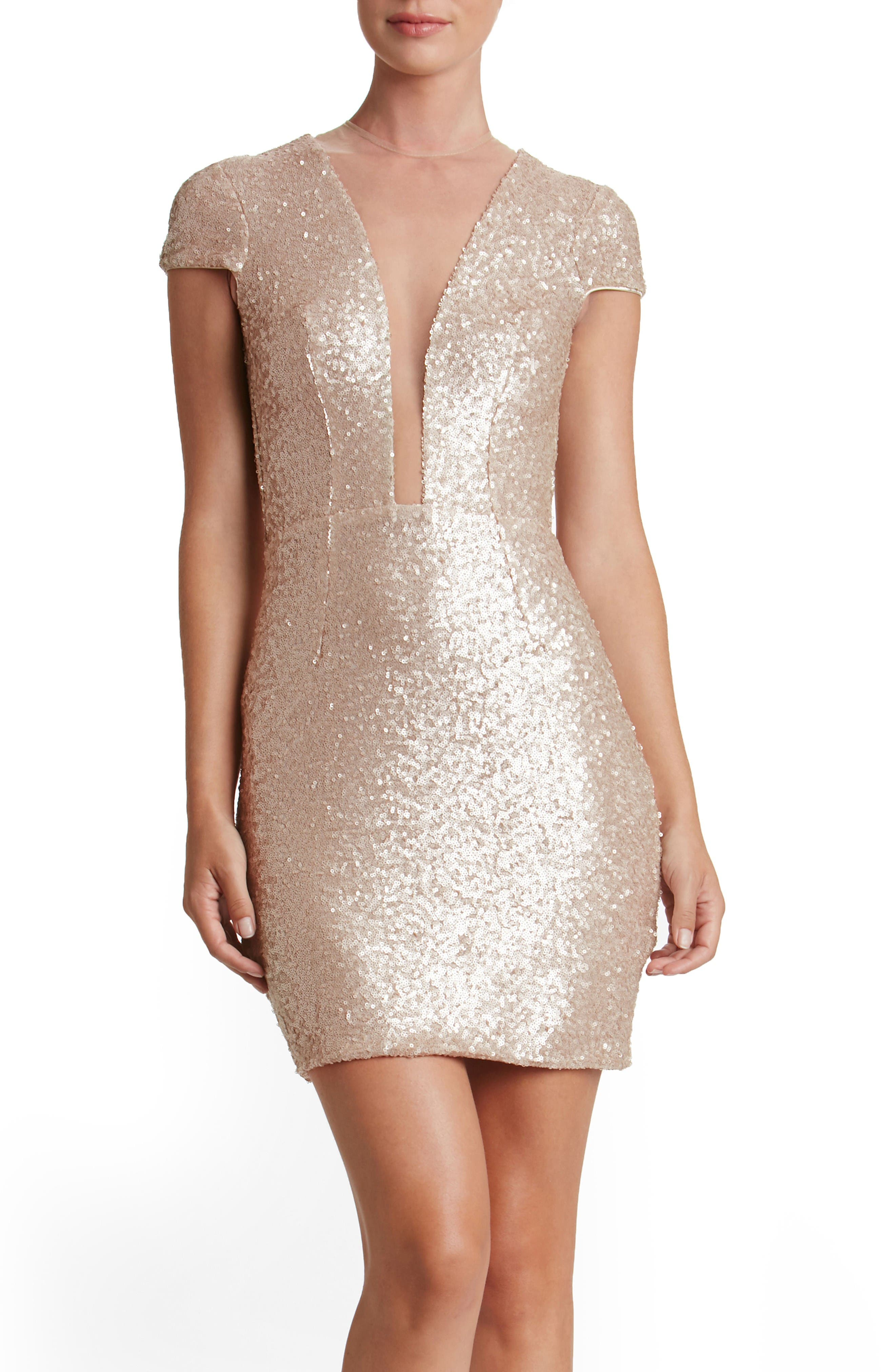 Kylie Sequin Minidress,                         Main,                         color, Pale Blush