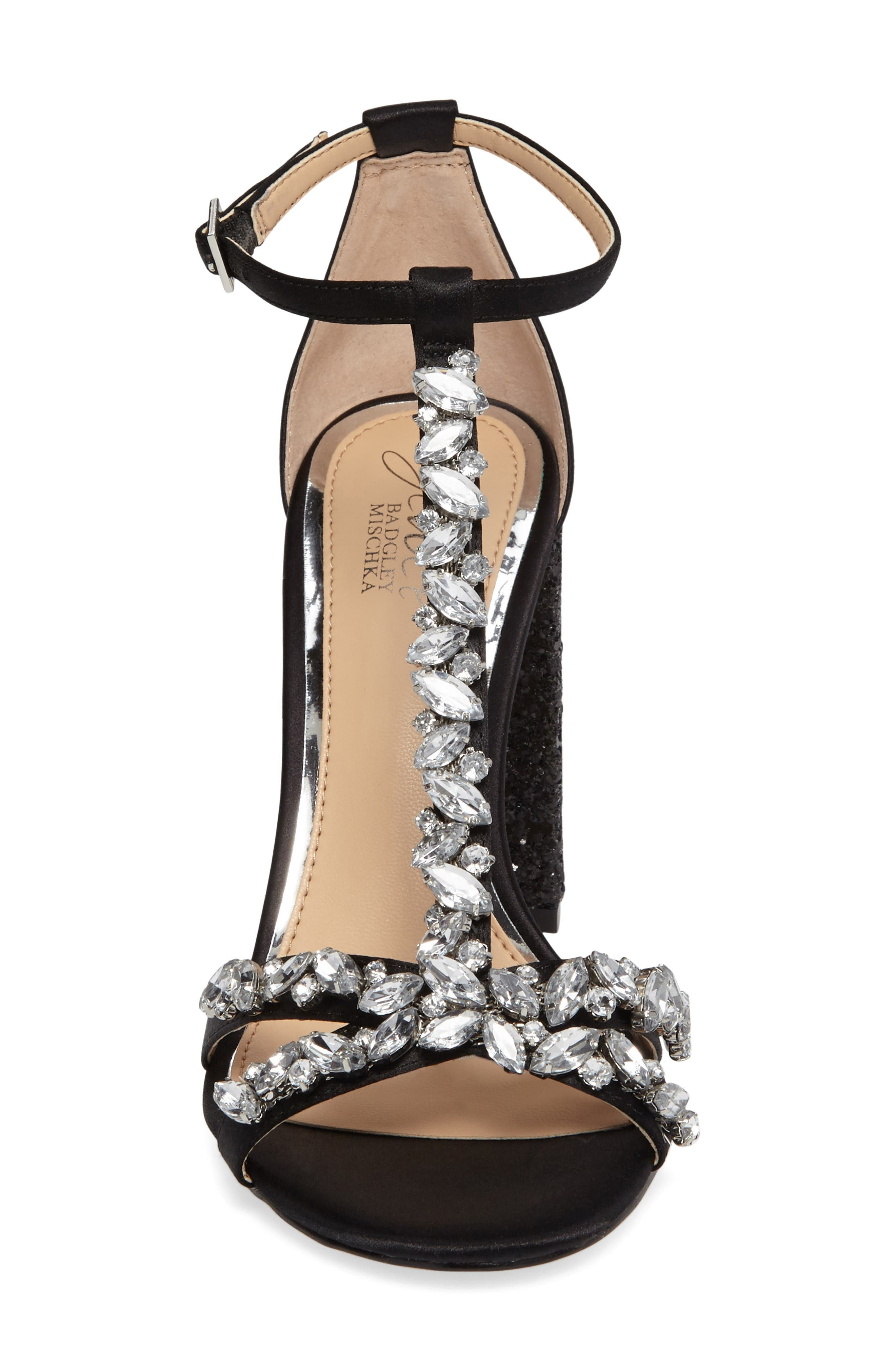 Carver Block Heel Sandal,                             Alternate thumbnail 3, color,                             Black Satin