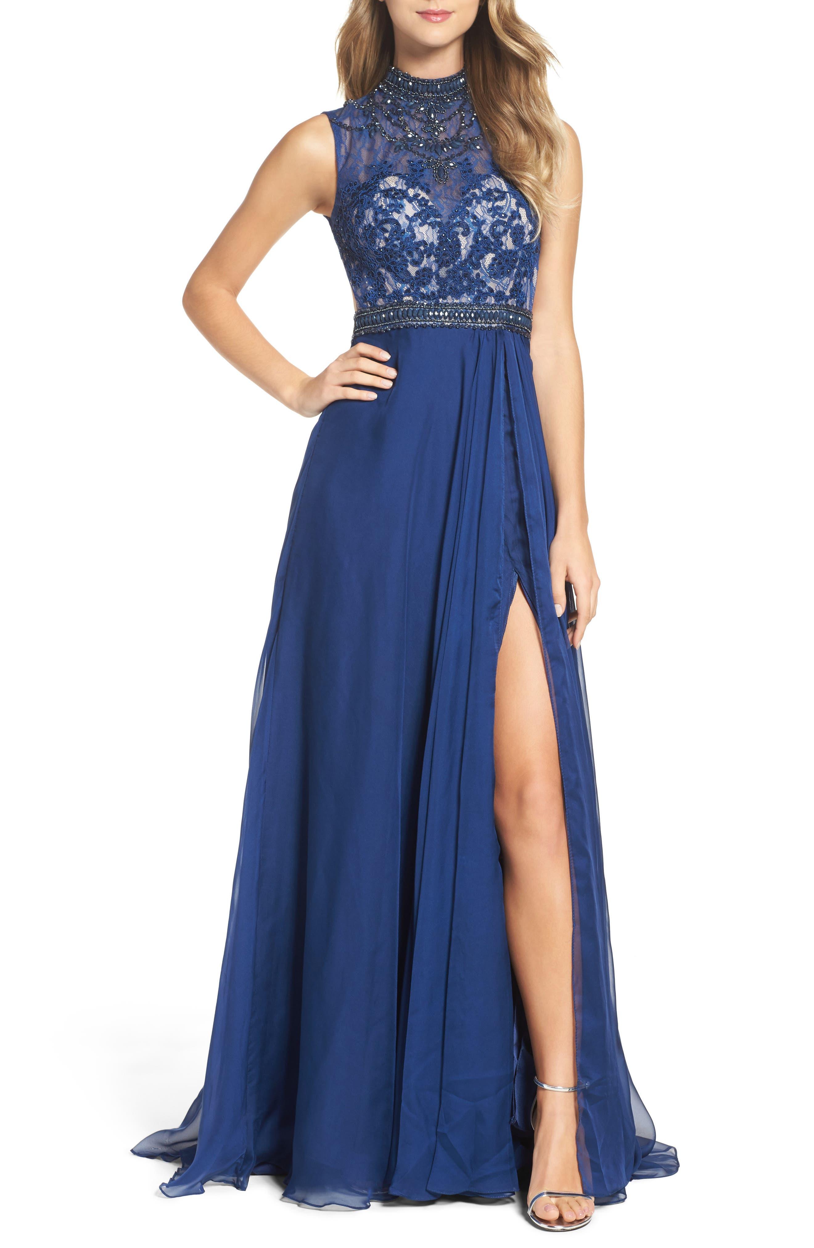 Mac Duggal Beaded Lace & Chiffon Gown