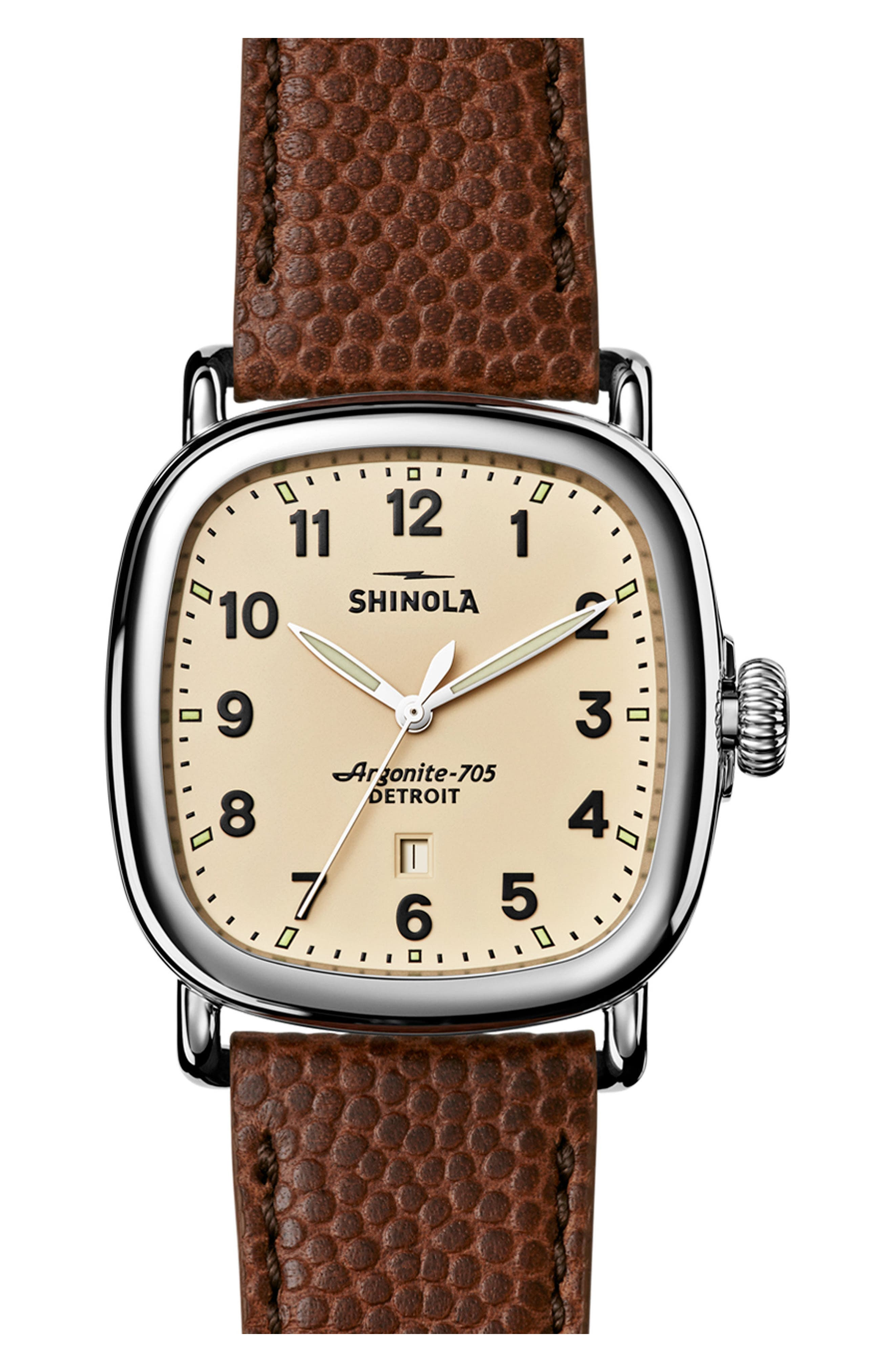 The Guardian Leather Strap Watch, 41mm,                         Main,                         color, Brown/ Cream/ Silver