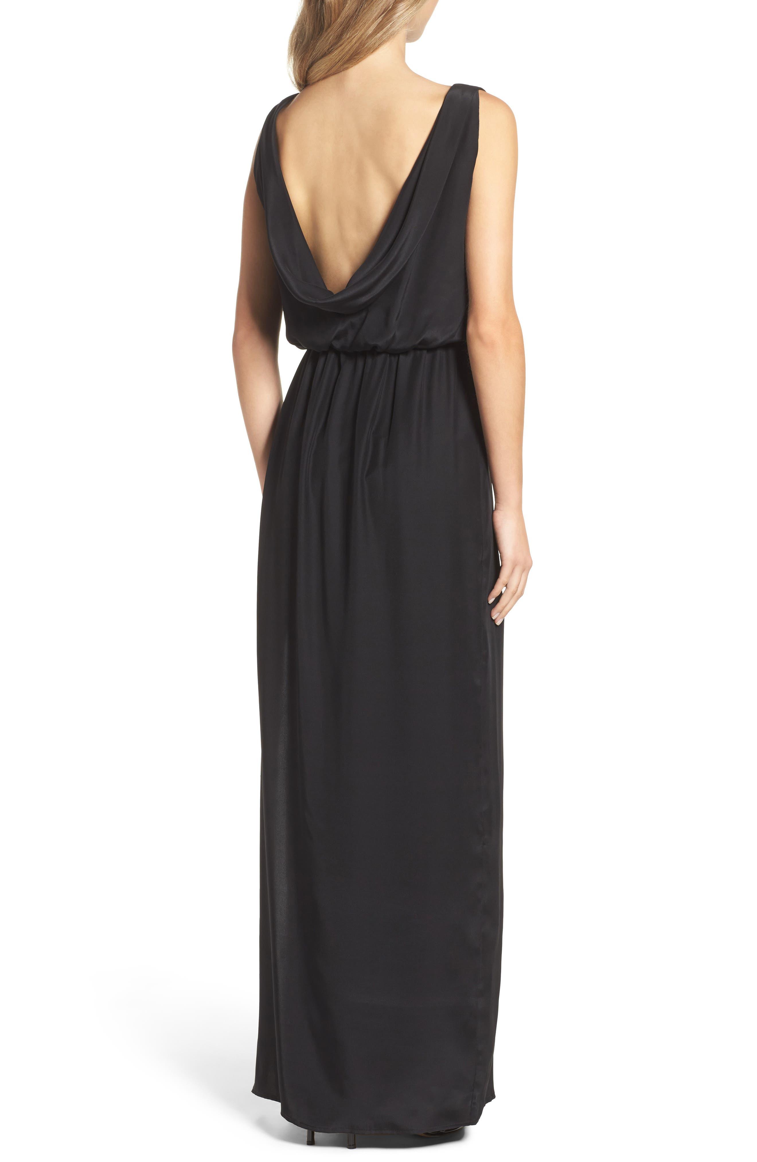 Alternate Image 3  - Natalie Deayala Drape Back Silk Column Gown