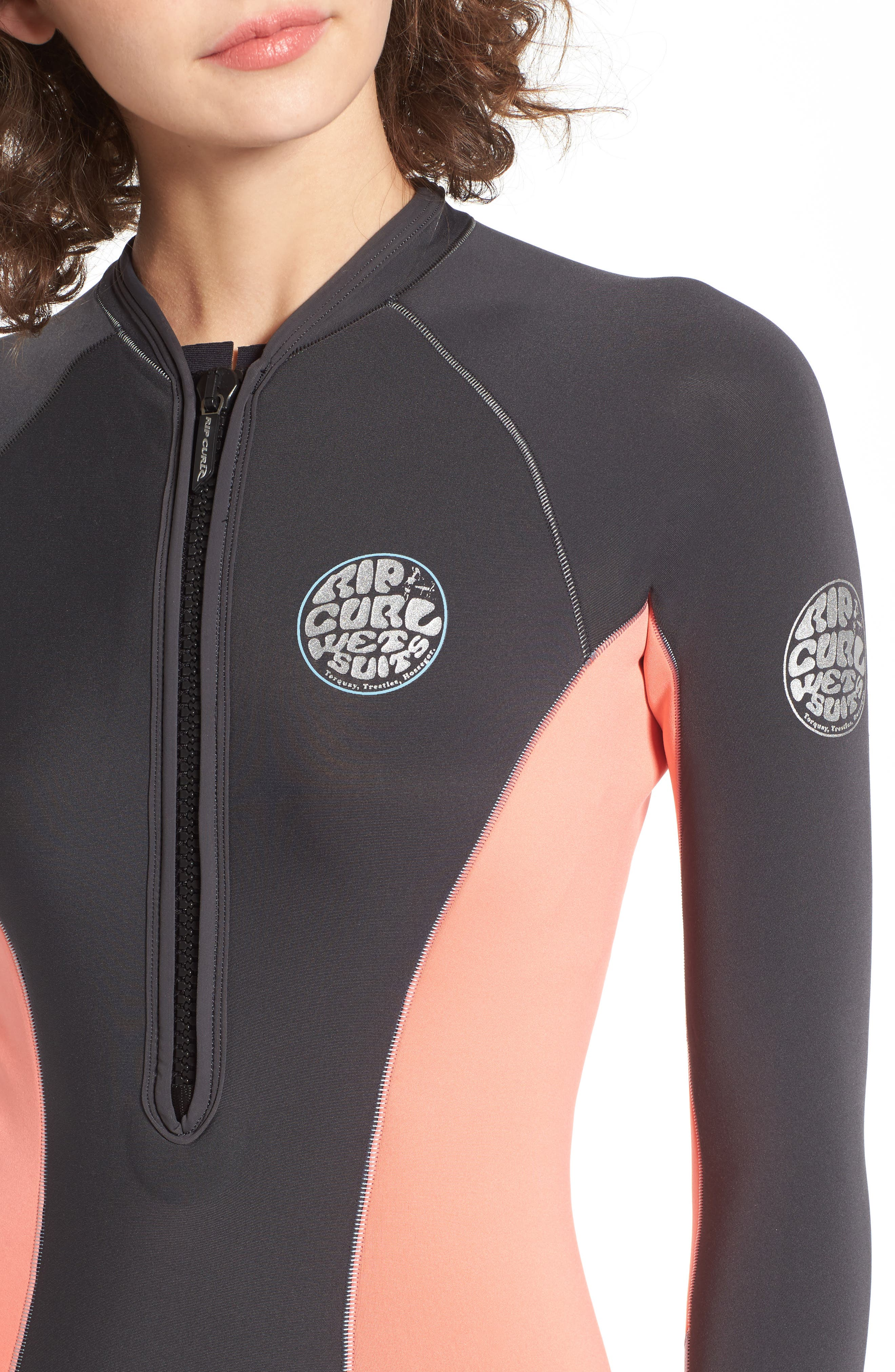 G-Bomb Long Sleeve Wetsuit,                             Alternate thumbnail 4, color,                             Coral
