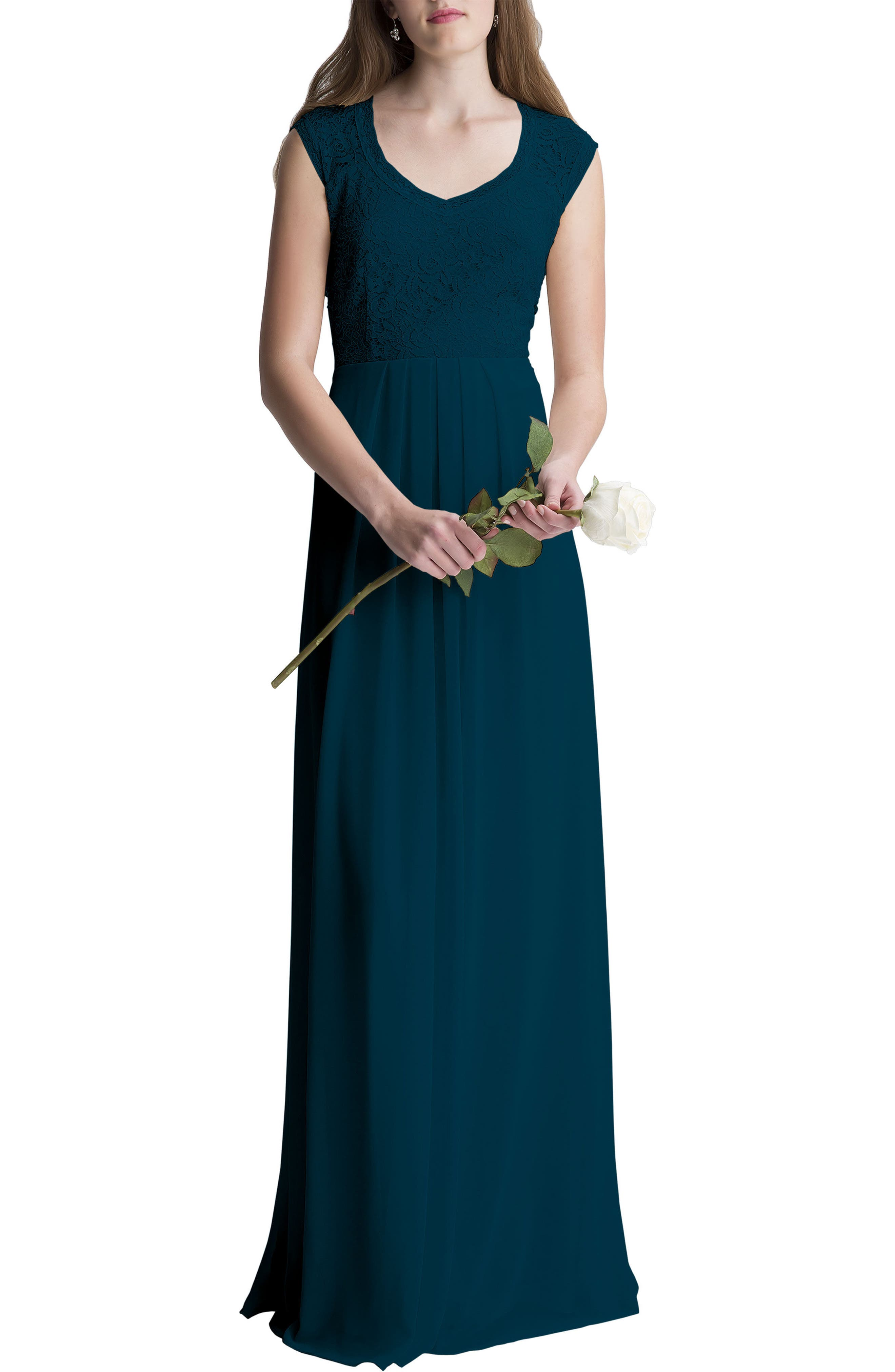 Lace Bodice A-Line Gown,                         Main,                         color, Navy