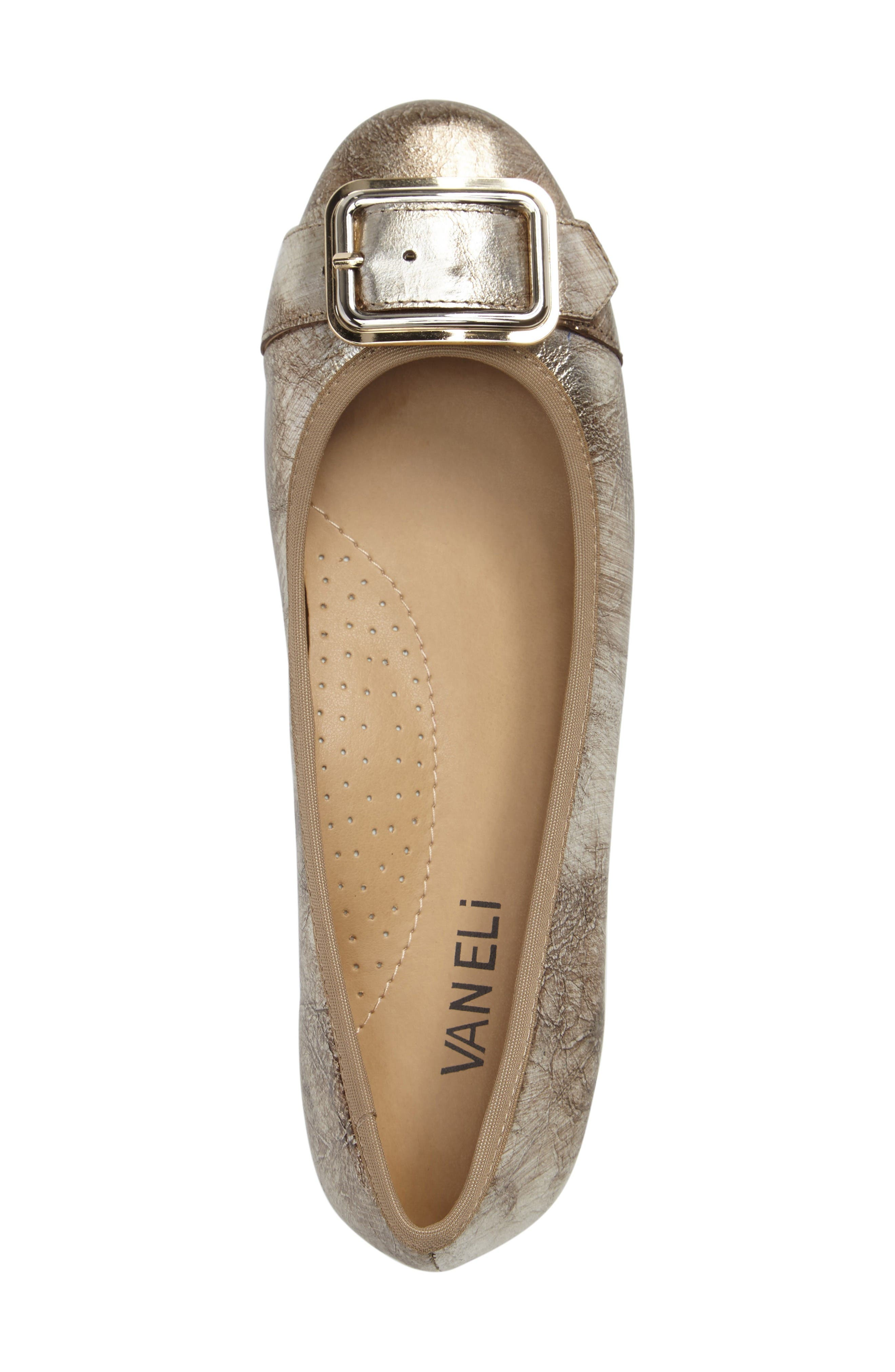 Solana Buckle Flat,                             Alternate thumbnail 3, color,                             Platino Leather