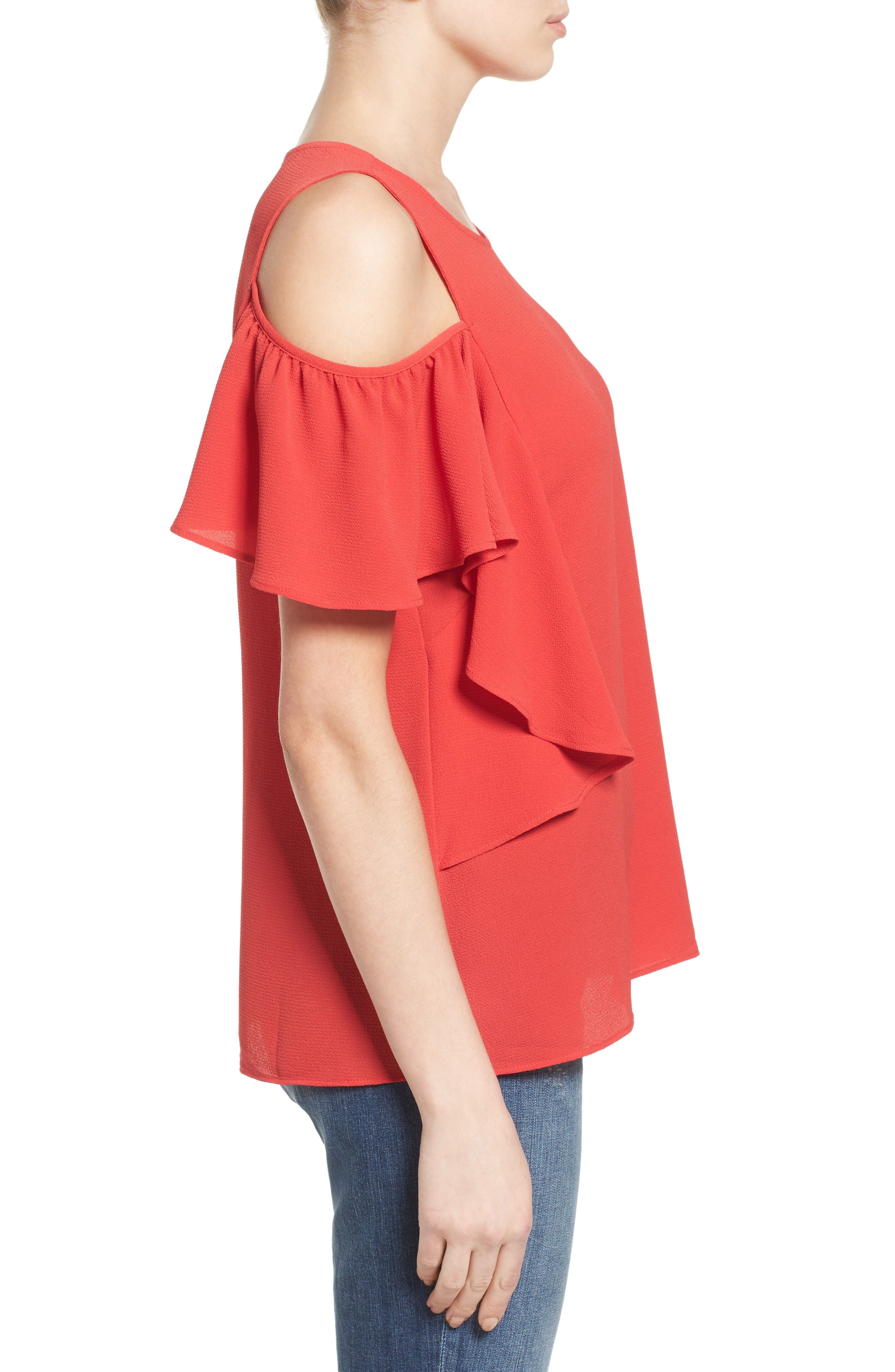 Cold Shoulder Ruffle Sleeve Top,                             Alternate thumbnail 3, color,                             Red Saucy