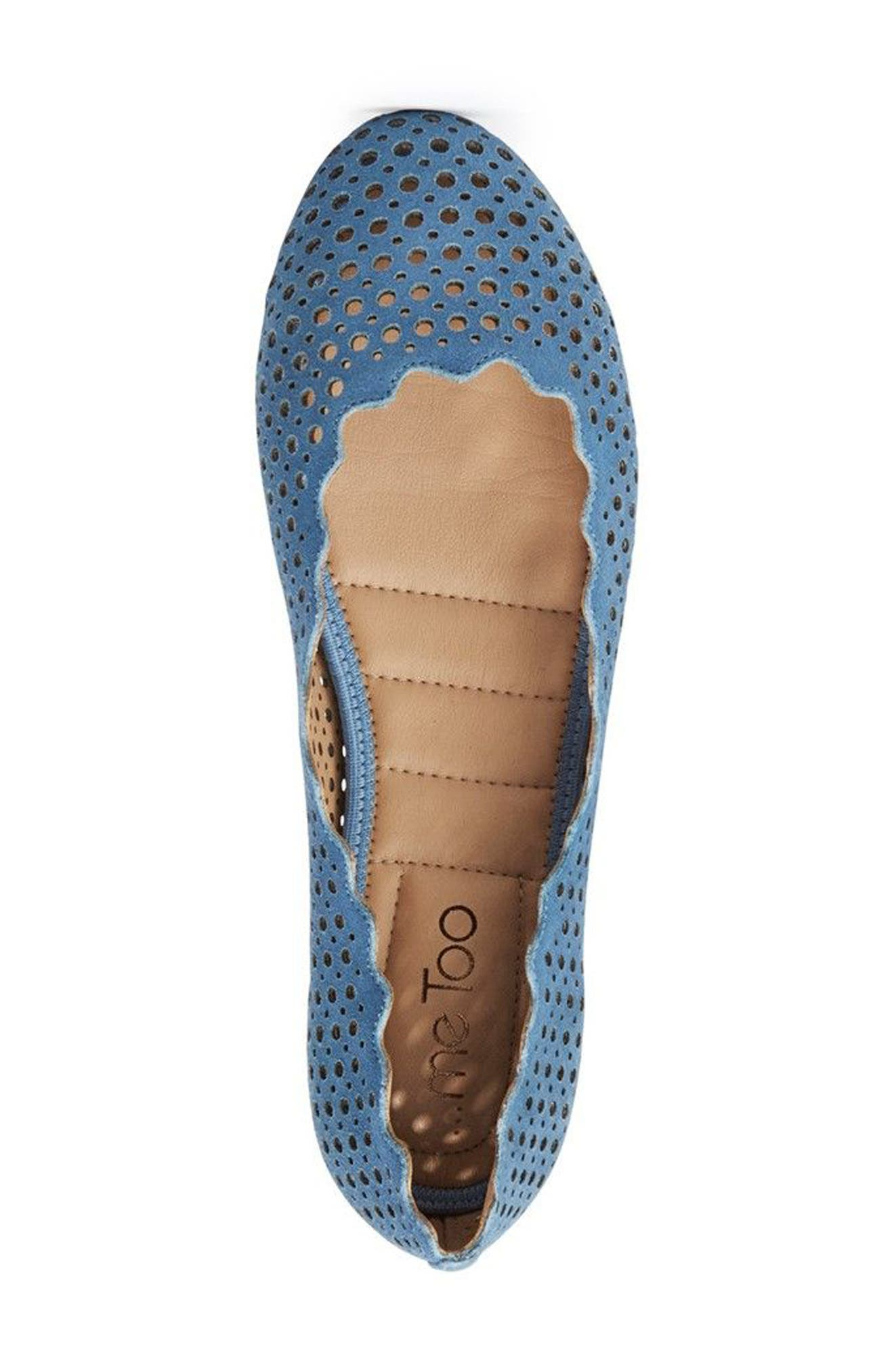 Carlee Scalloped Flat,                             Alternate thumbnail 3, color,                             Sky Blue Suede