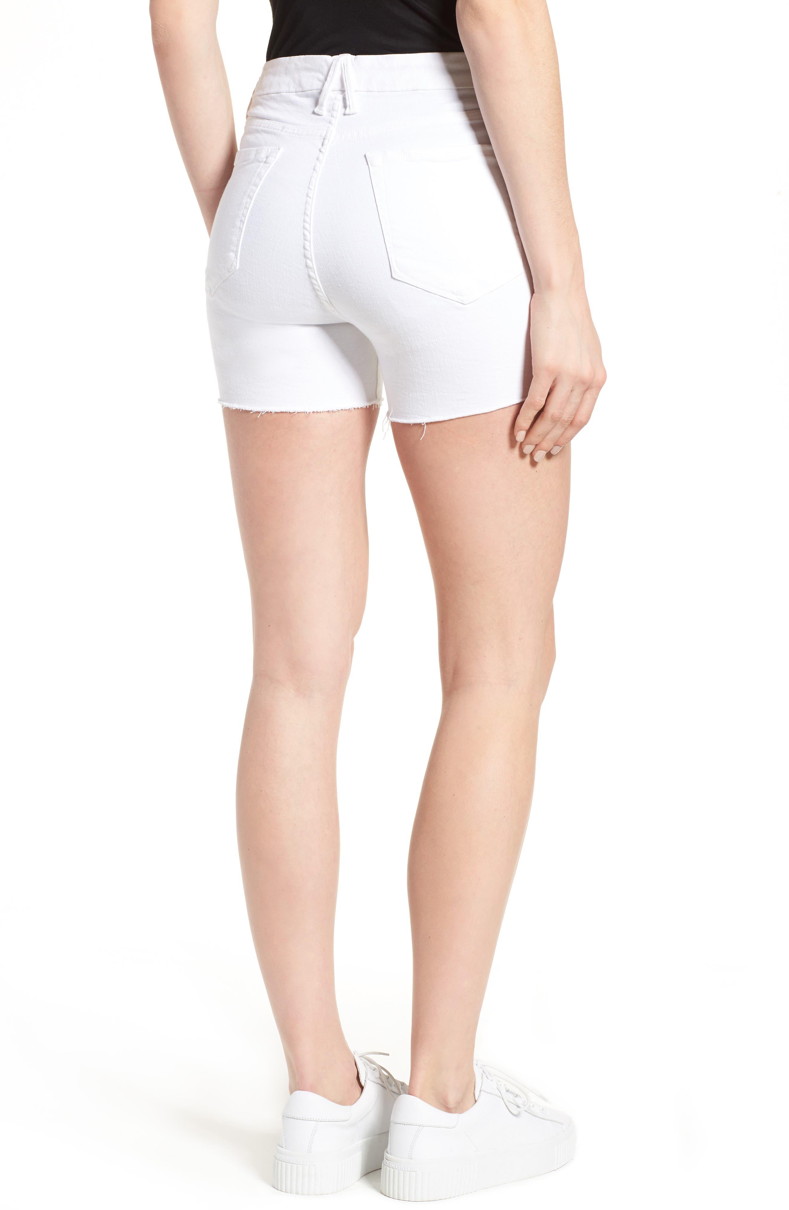 Destroyed Cutoff Denim Shorts,                             Alternate thumbnail 2, color,                             White 004
