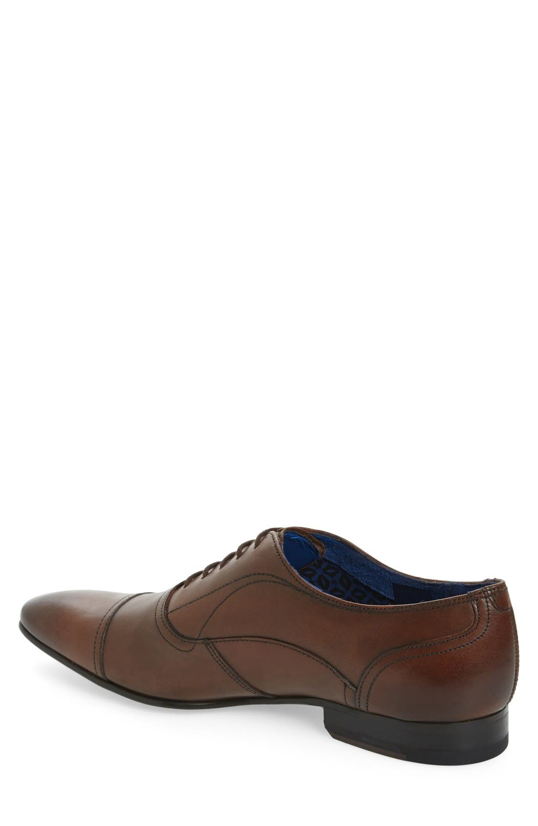 'Umbber' Cap Toe Oxford,                             Alternate thumbnail 2, color,                             Brown Leather
