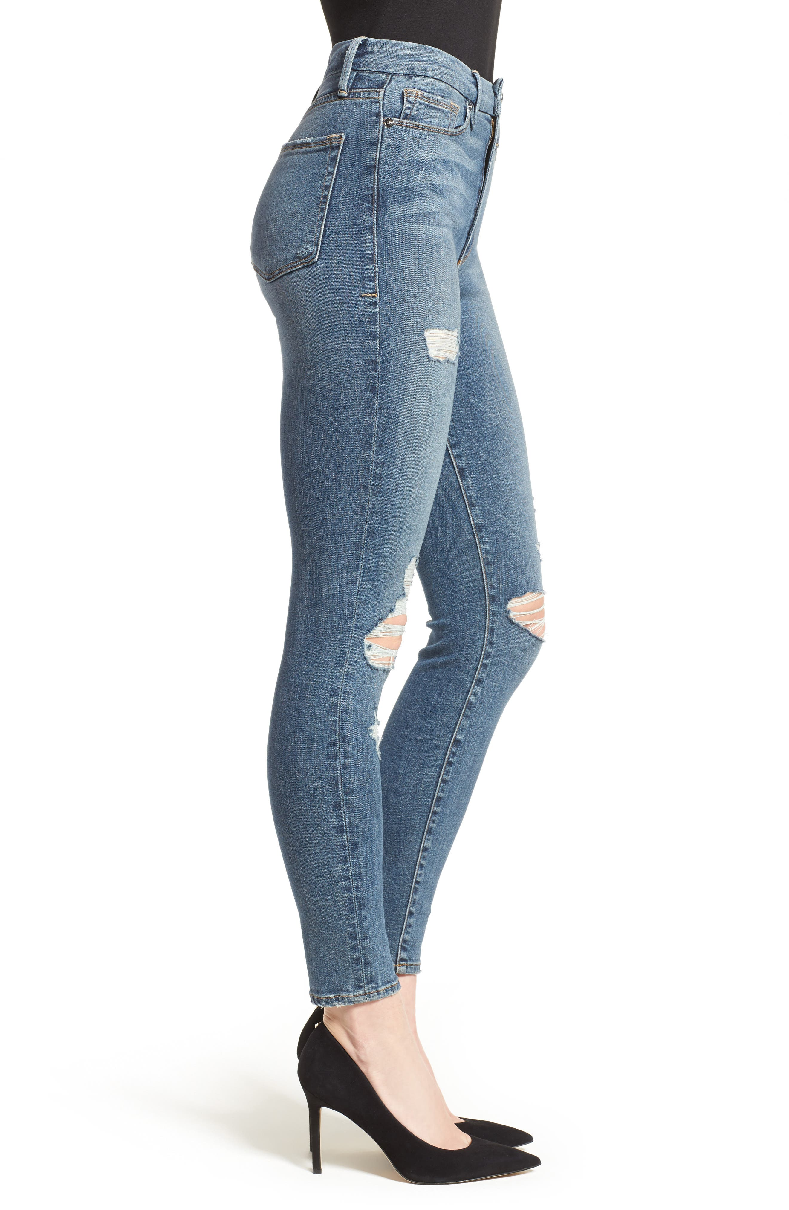 Alternate Image 4  - Good American Good Waist High Waist Ripped Skinny Jeans (Blue 026) (Extended Sizes)