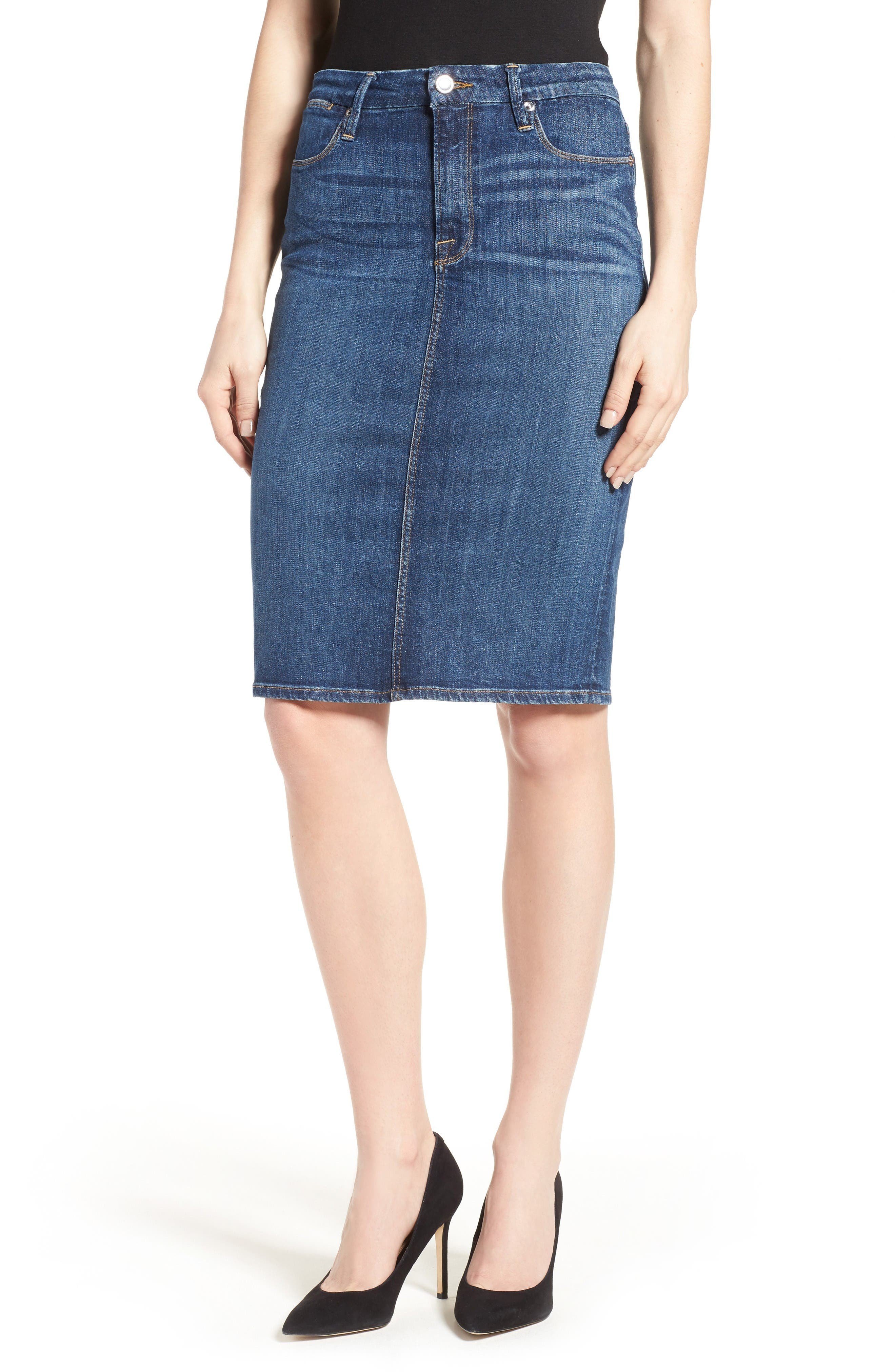 Main Image - Good American High Rise Denim Pencil Skirt (Blue 046) (Extended Sizes)