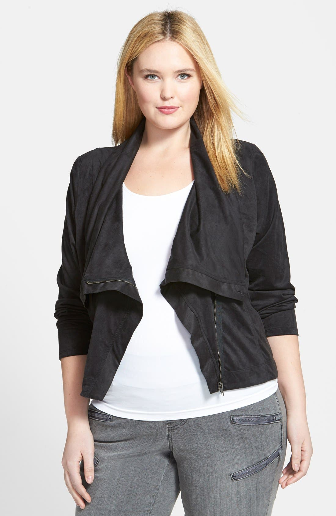 Alternate Image 1 Selected - Jessica Simpson 'Altmar' Faux Suede Asymmetrical Zip Jacket (Plus Size)