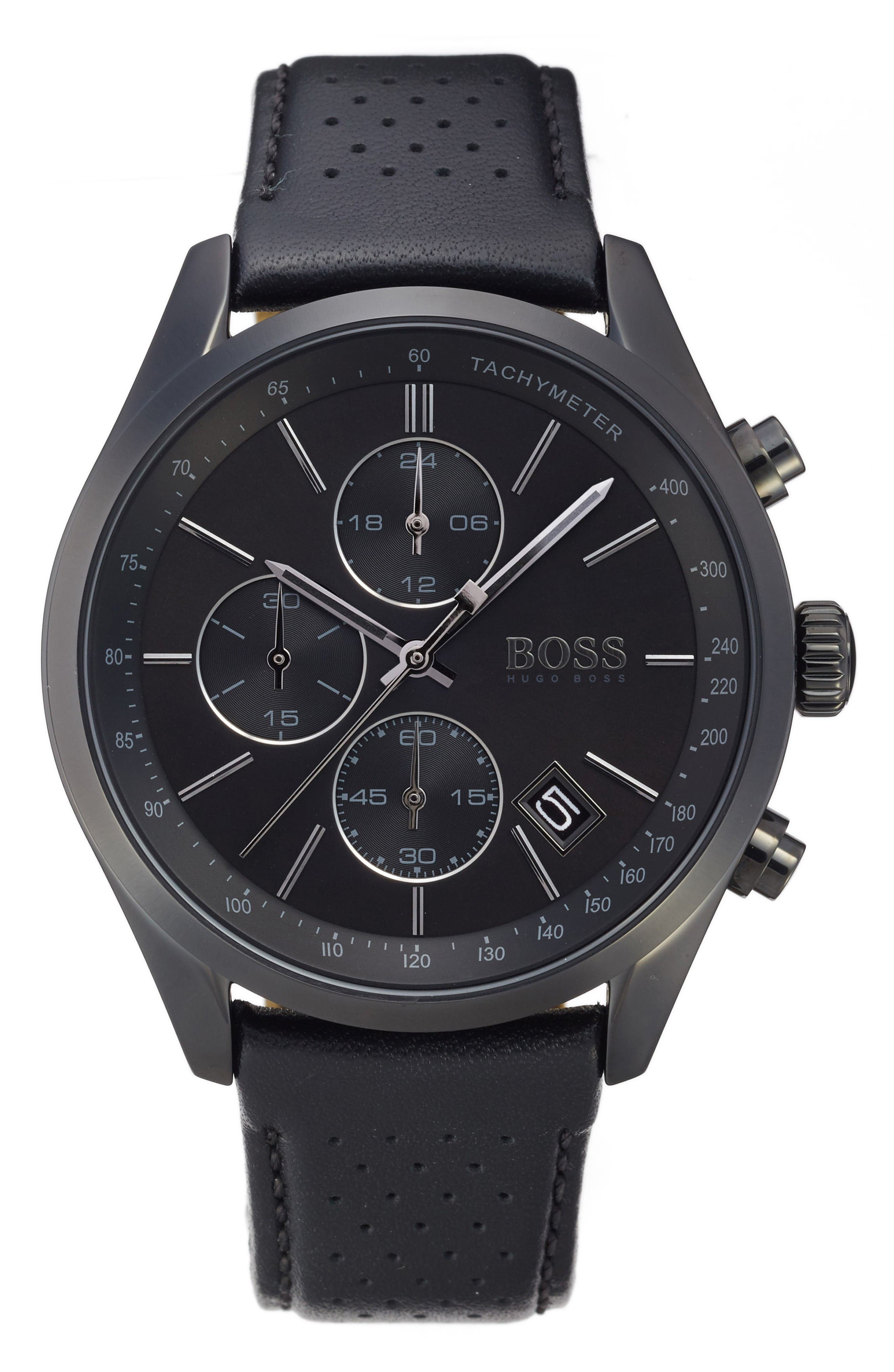 Alternate Image 1 Selected - BOSS Grand Prix Leather Strap Chronograph Watch, 44mm