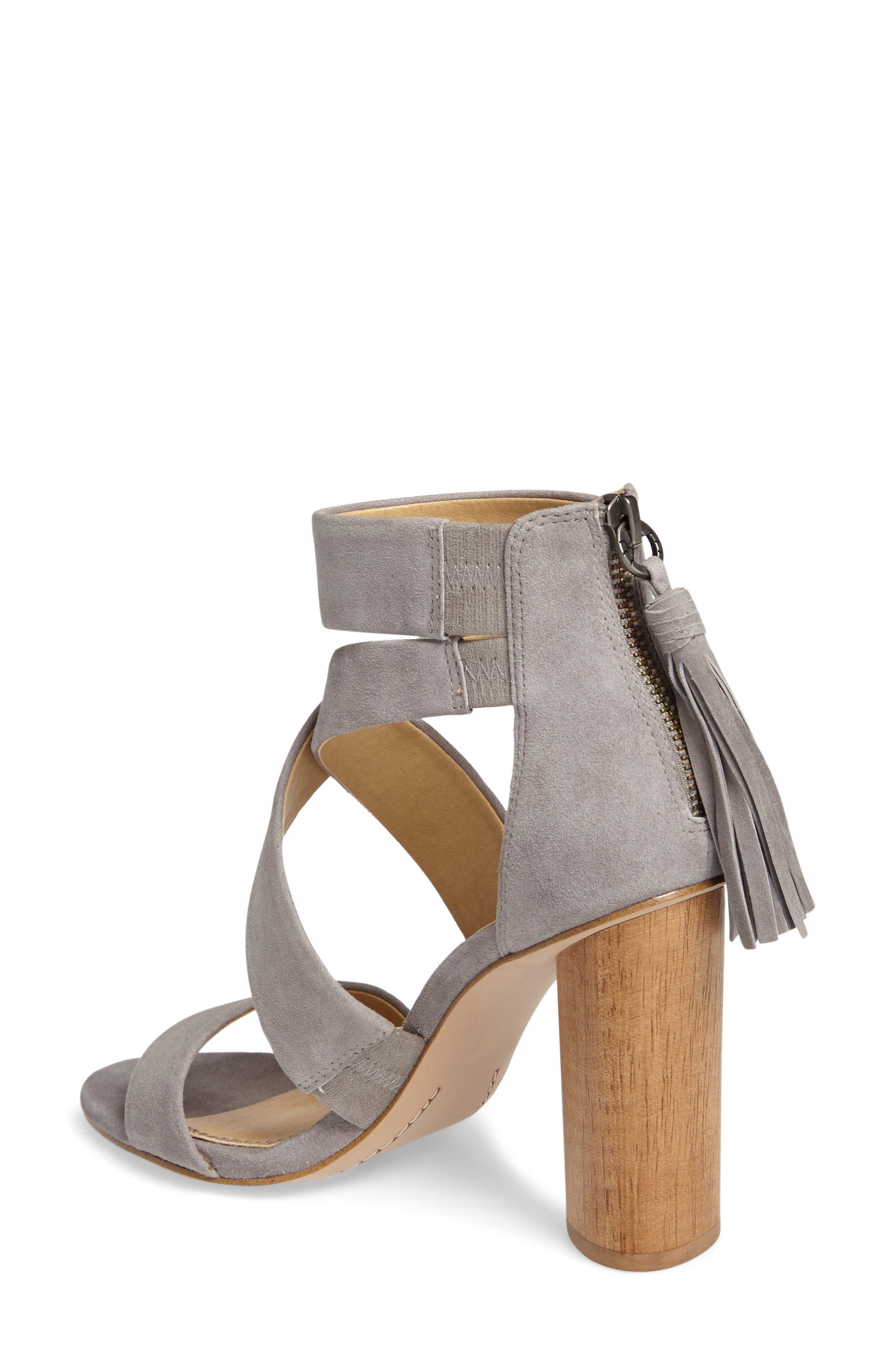 Jara Statement Heel Sandal,                             Alternate thumbnail 2, color,                             Light Grey Suede